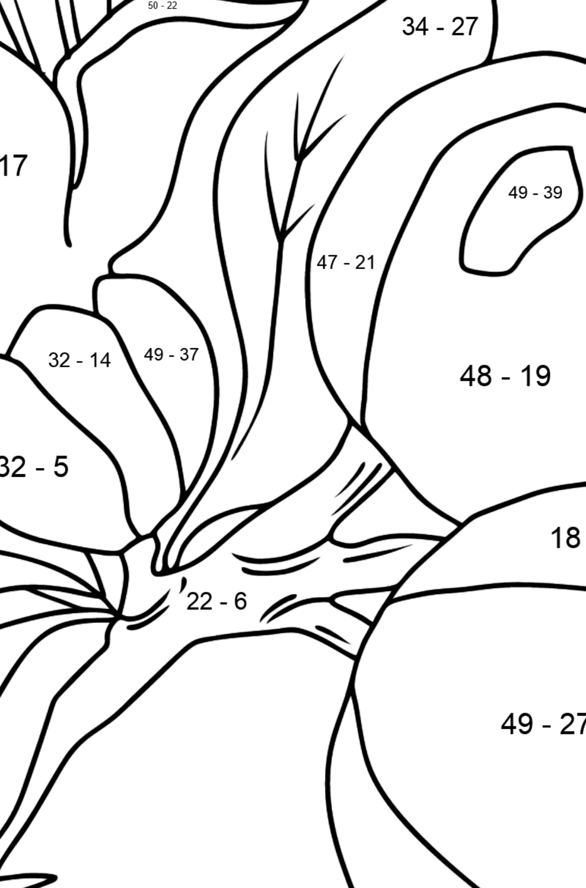 Coloring Page - flowers and fruits - Math Coloring - Subtraction for Kids