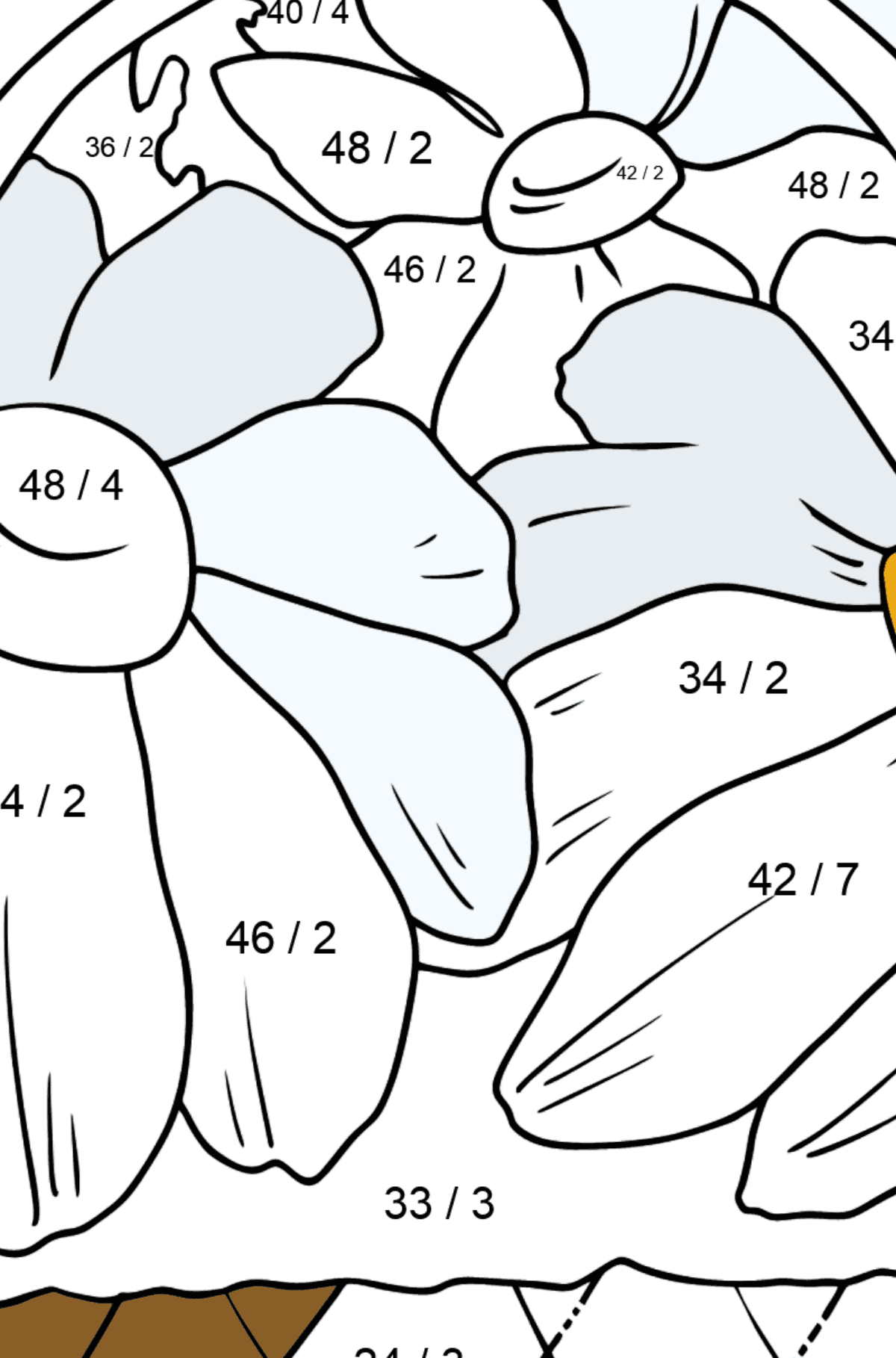 Flower Coloring Page - flowers in a basket - Math Coloring - Division for Kids