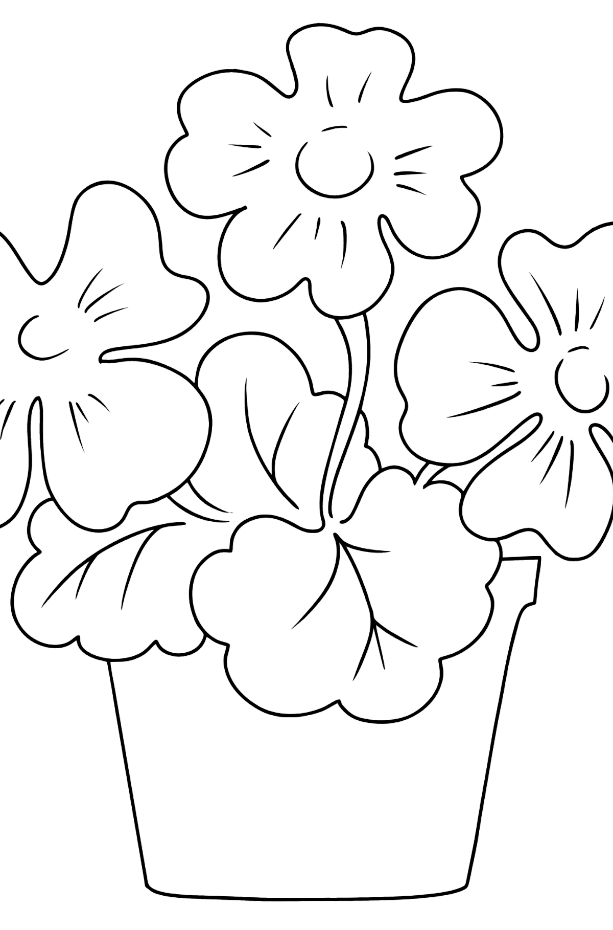Coloring Page - flowers in a pot - Coloring Pages for Kids