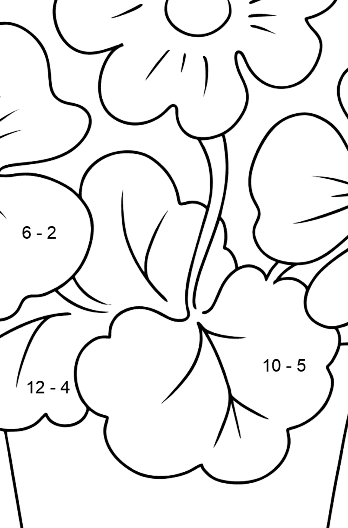 Coloring Page - flowers in a pot - Math Coloring - Subtraction for Kids
