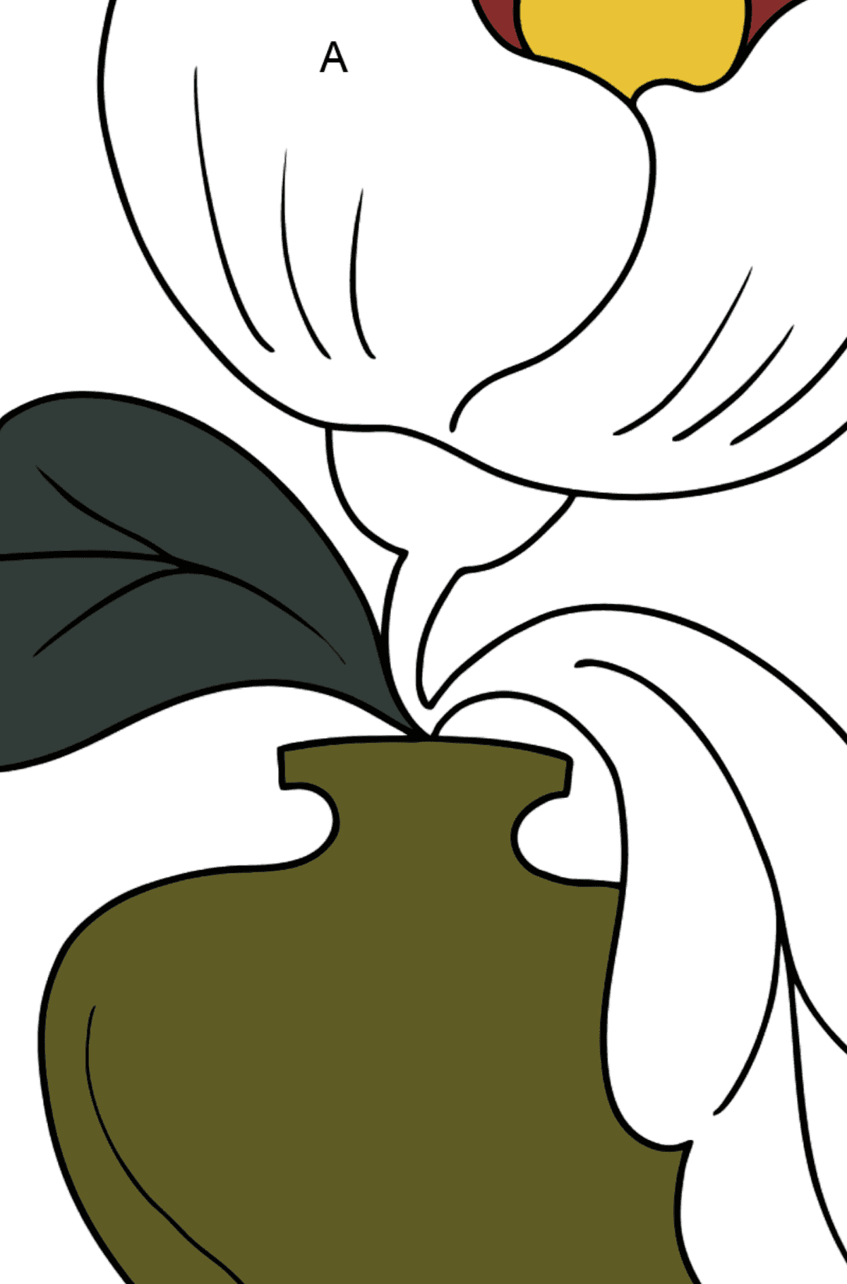 Coloring Page - flowers in a vase - Coloring by Letters for Kids