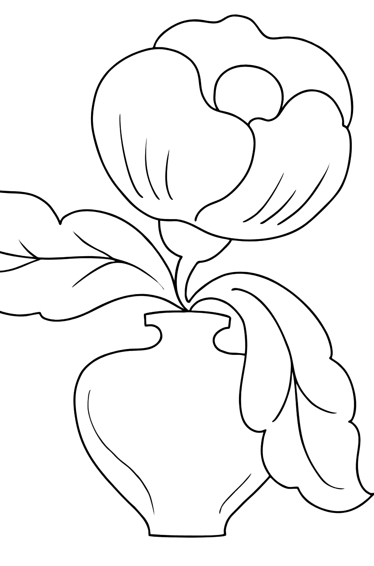 Coloring Page - flowers in a vase - Coloring Pages for Kids