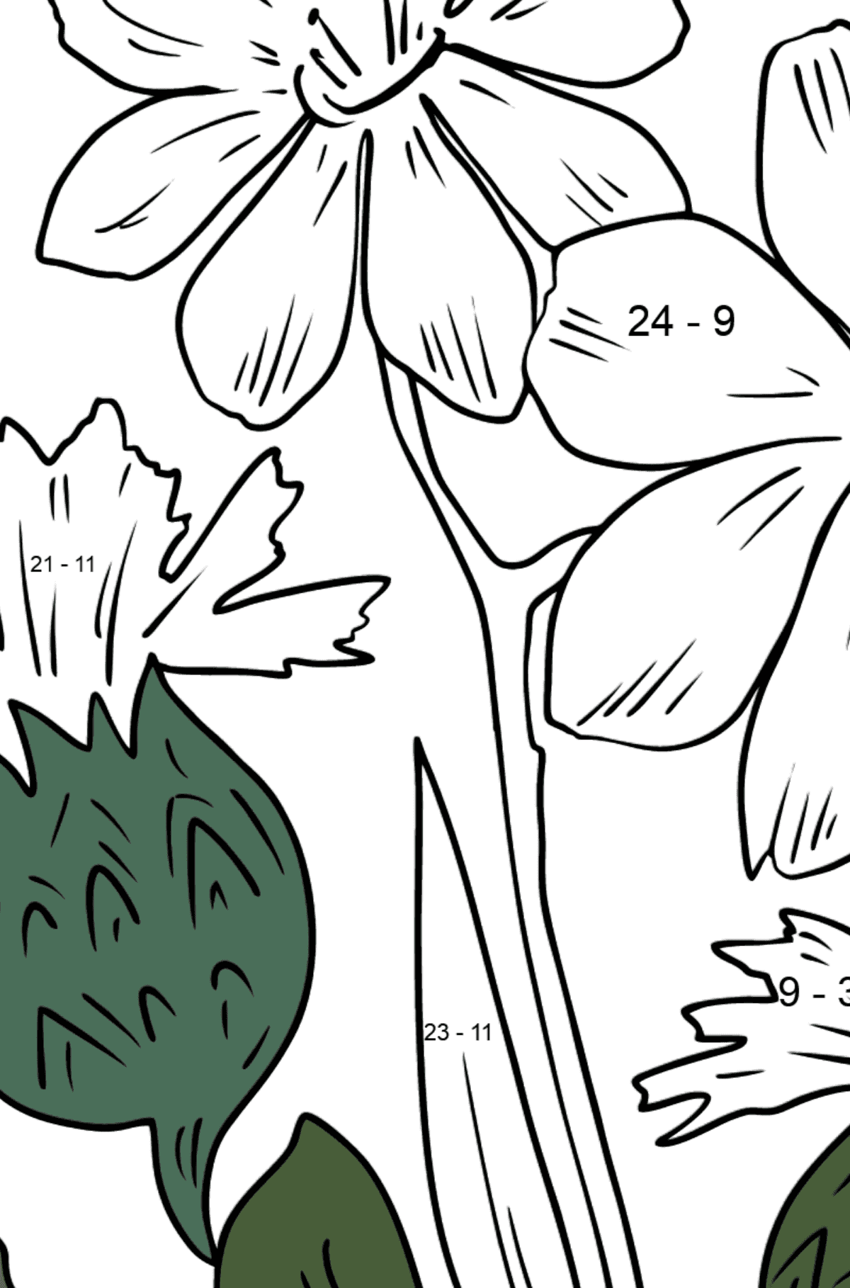 Flower Coloring Page - flowers in the meadow - Math Coloring - Subtraction for Kids