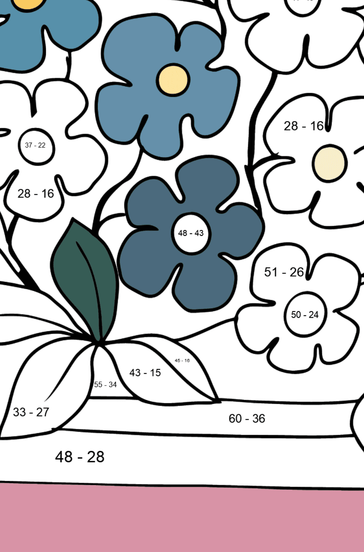 Flower Coloring Page - Forget me nots - Math Coloring - Subtraction for Kids