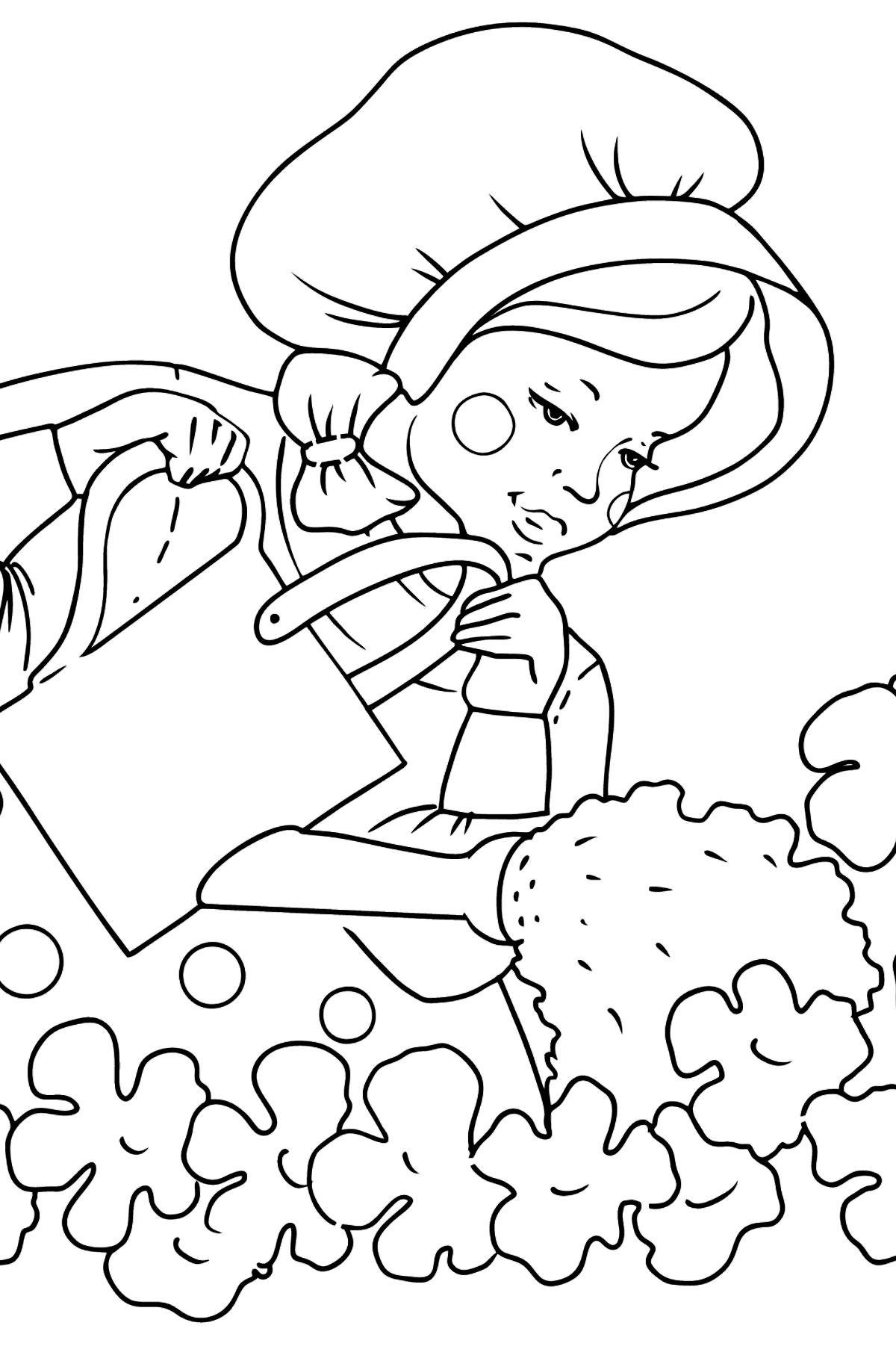 Раскраска девочка поливает цветы - Картинки для Детей