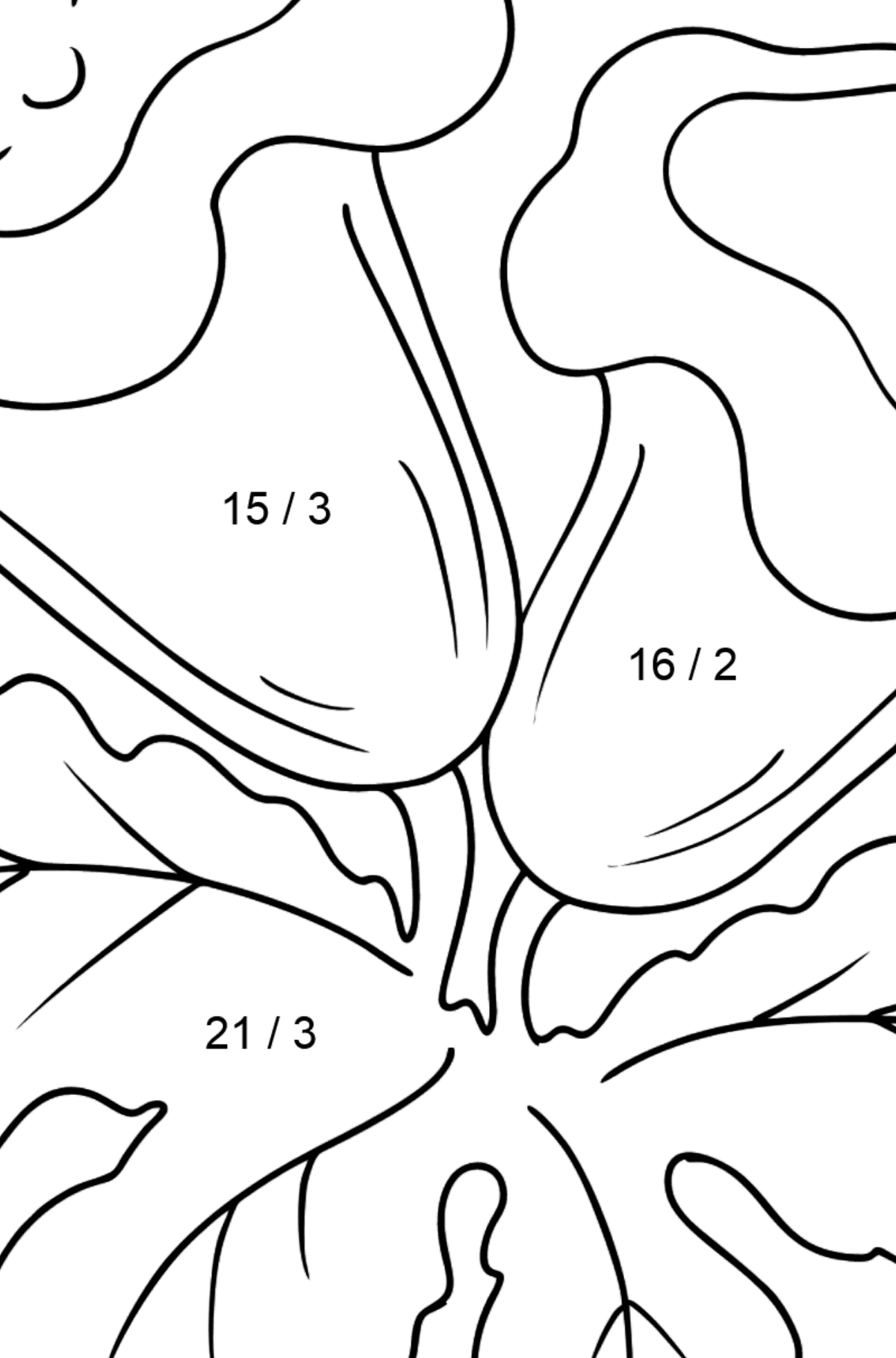 Coloring Page - Indoor flowers - Math Coloring - Division for Kids