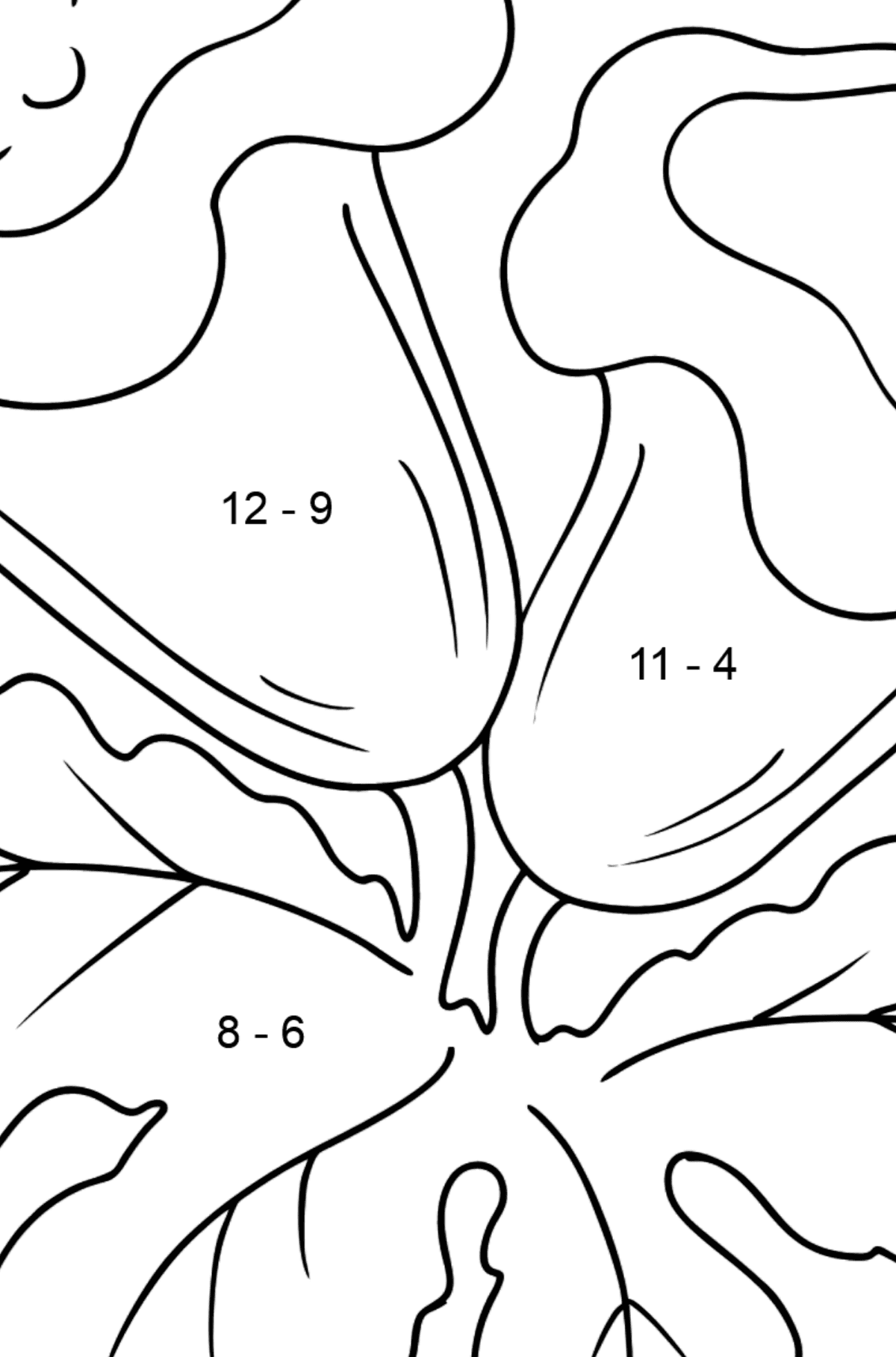 Coloring Page - Indoor flowers - Math Coloring - Subtraction for Kids