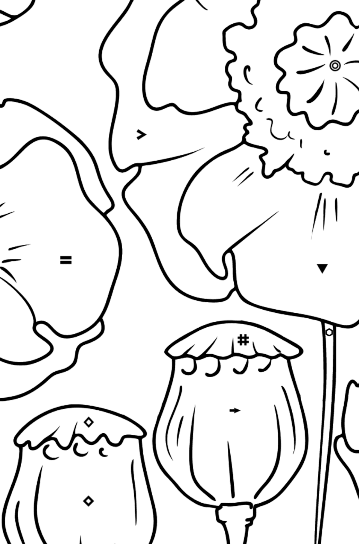 Flower Coloring Page - Poppies - Coloring by Symbols and Geometric Shapes for Kids