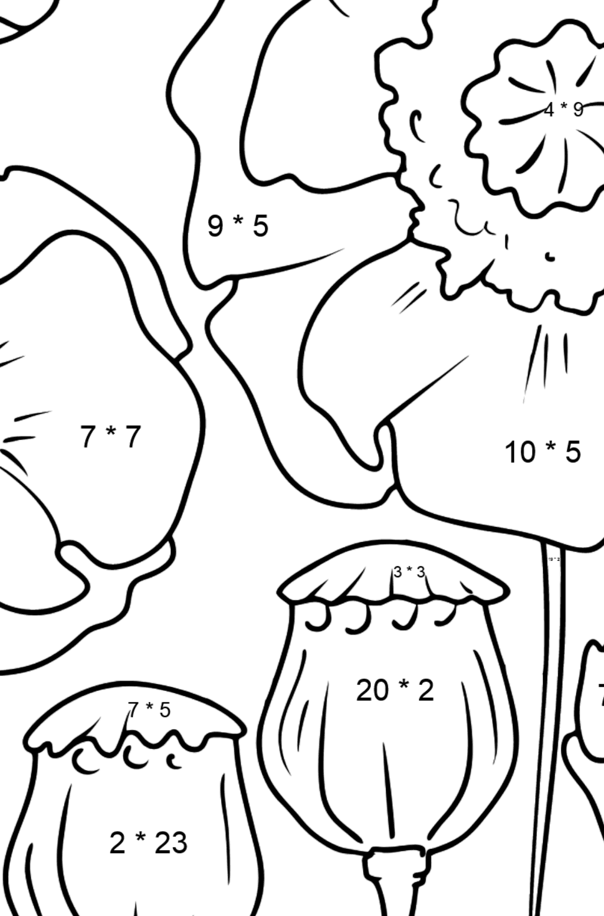 Flower Coloring Page - Poppies - Math Coloring - Multiplication for Kids