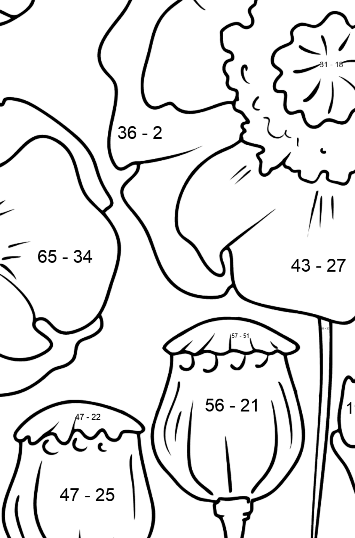 Flower Coloring Page - Poppies - Math Coloring - Subtraction for Kids