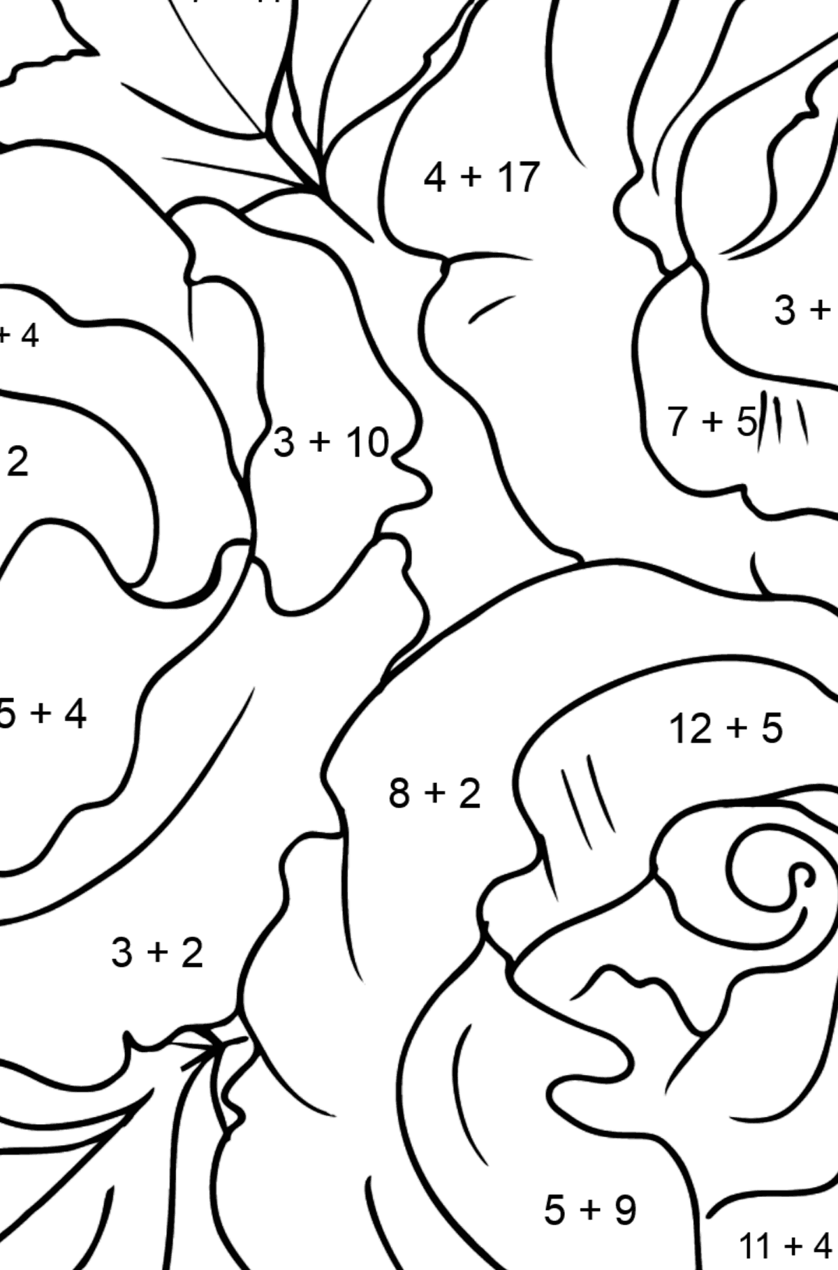 Roses Coloring Page - Math Coloring - Addition for Kids