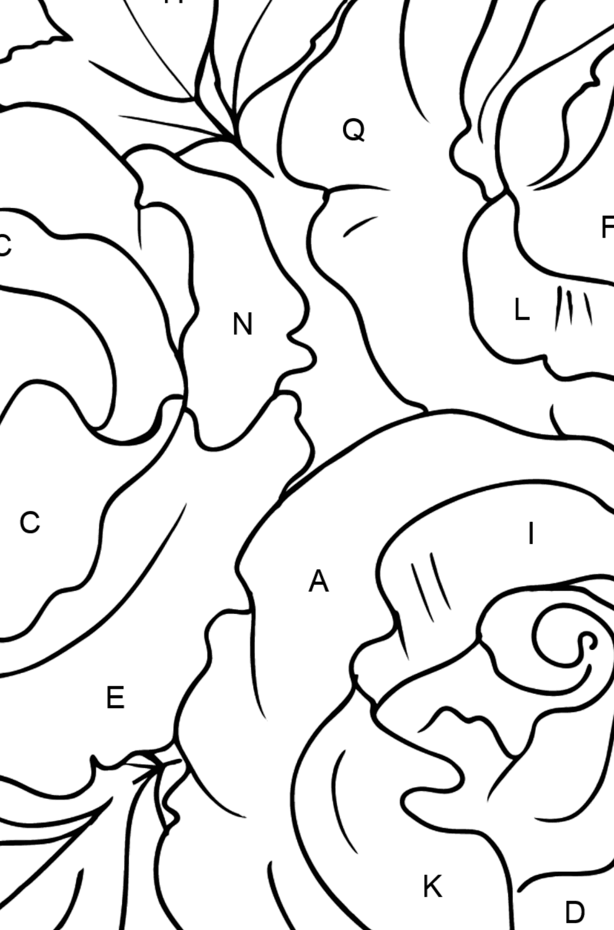 Roses Coloring Page - Coloring by Letters for Kids