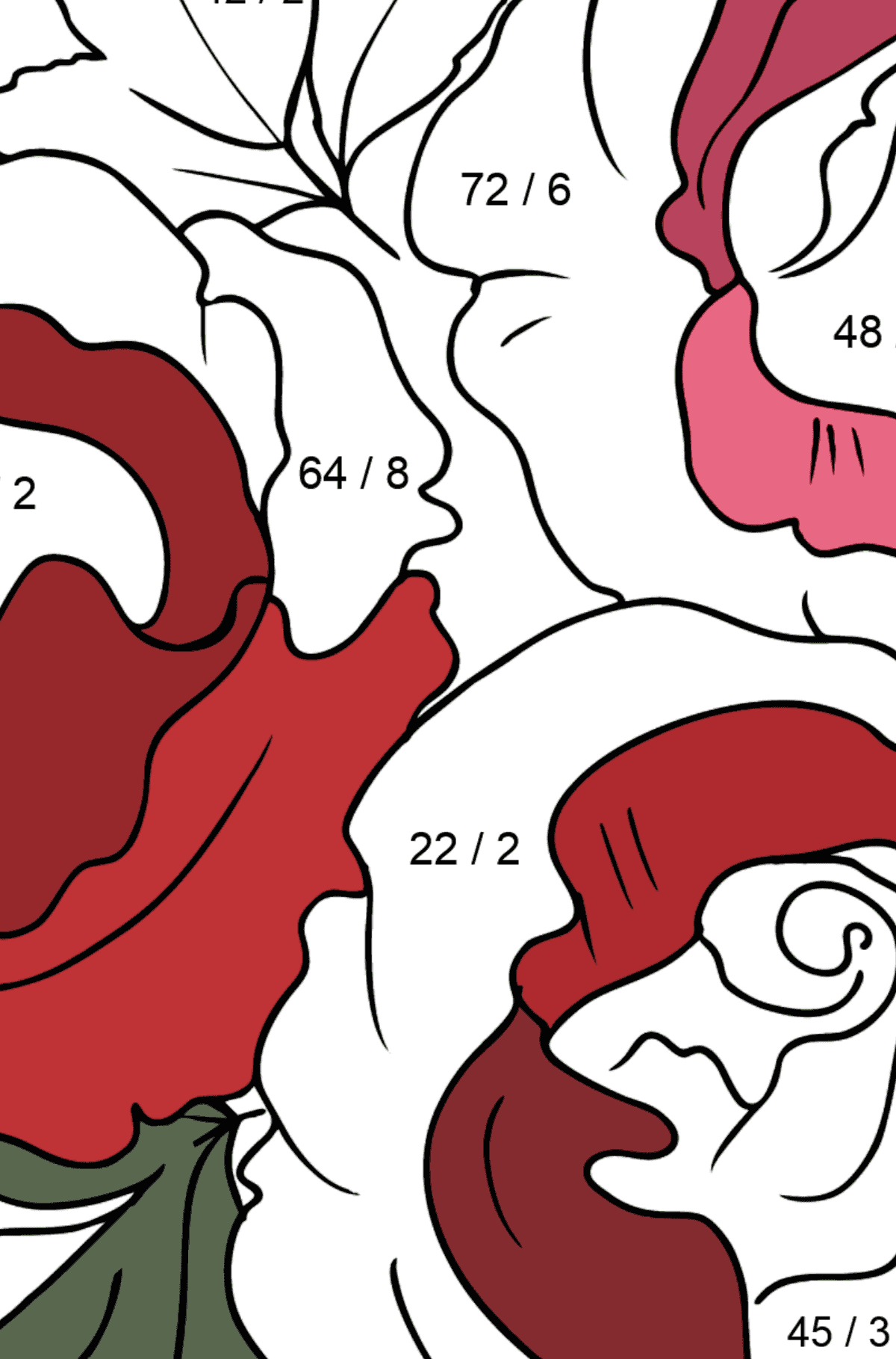 Roses Coloring Page - Math Coloring - Division for Kids