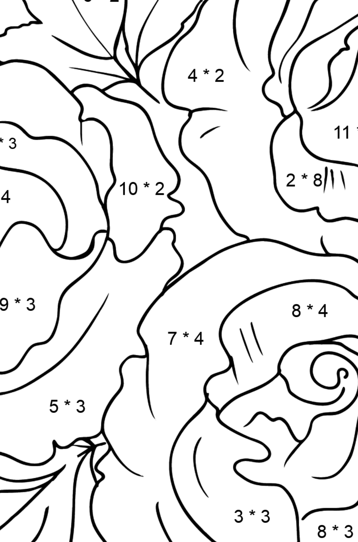 Roses Coloring Page - Math Coloring - Multiplication for Kids