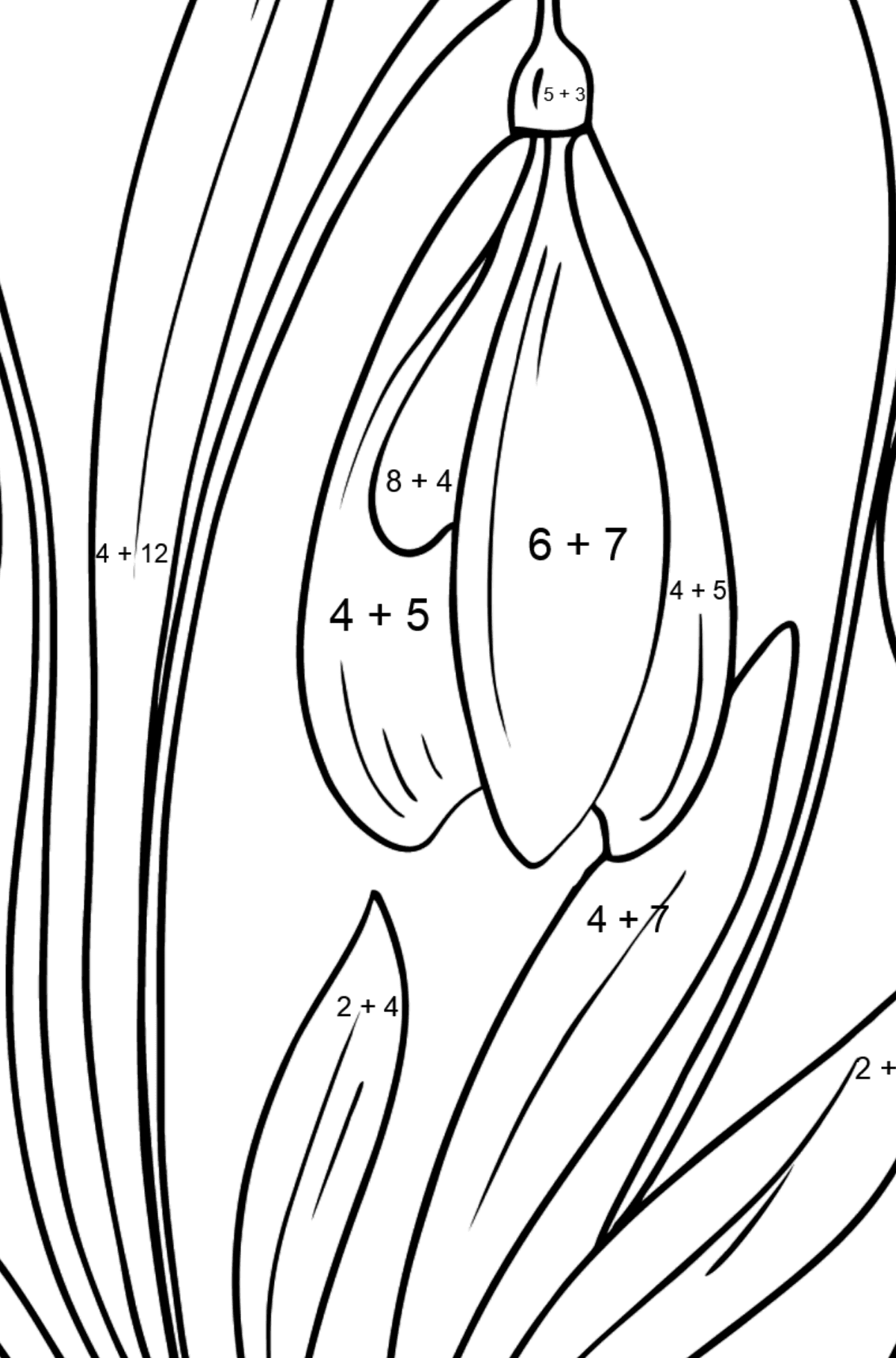 Snowdrops Coloring Page - Math Coloring - Addition for Kids