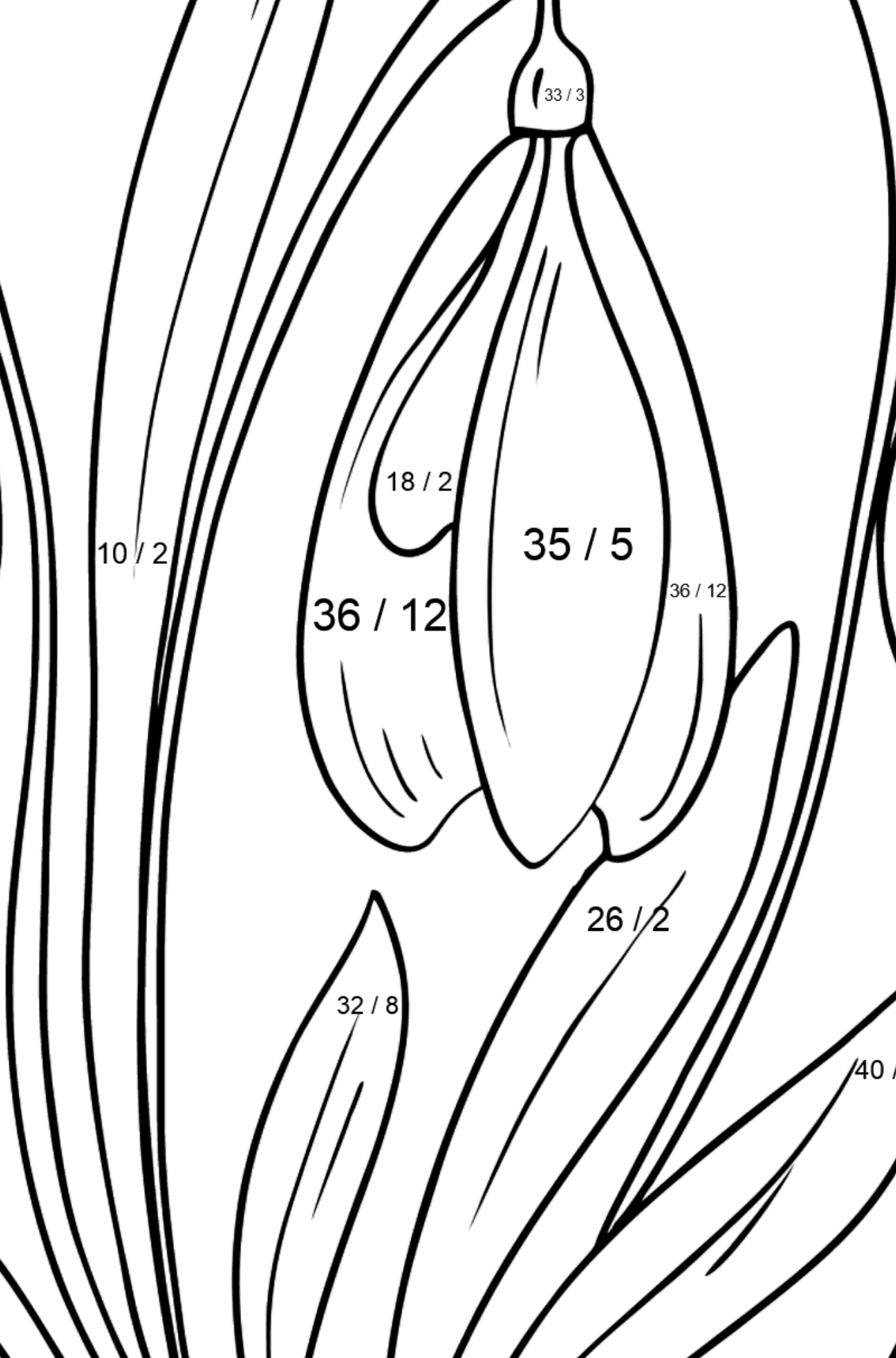 Snowdrops Coloring Page - Math Coloring - Division for Kids