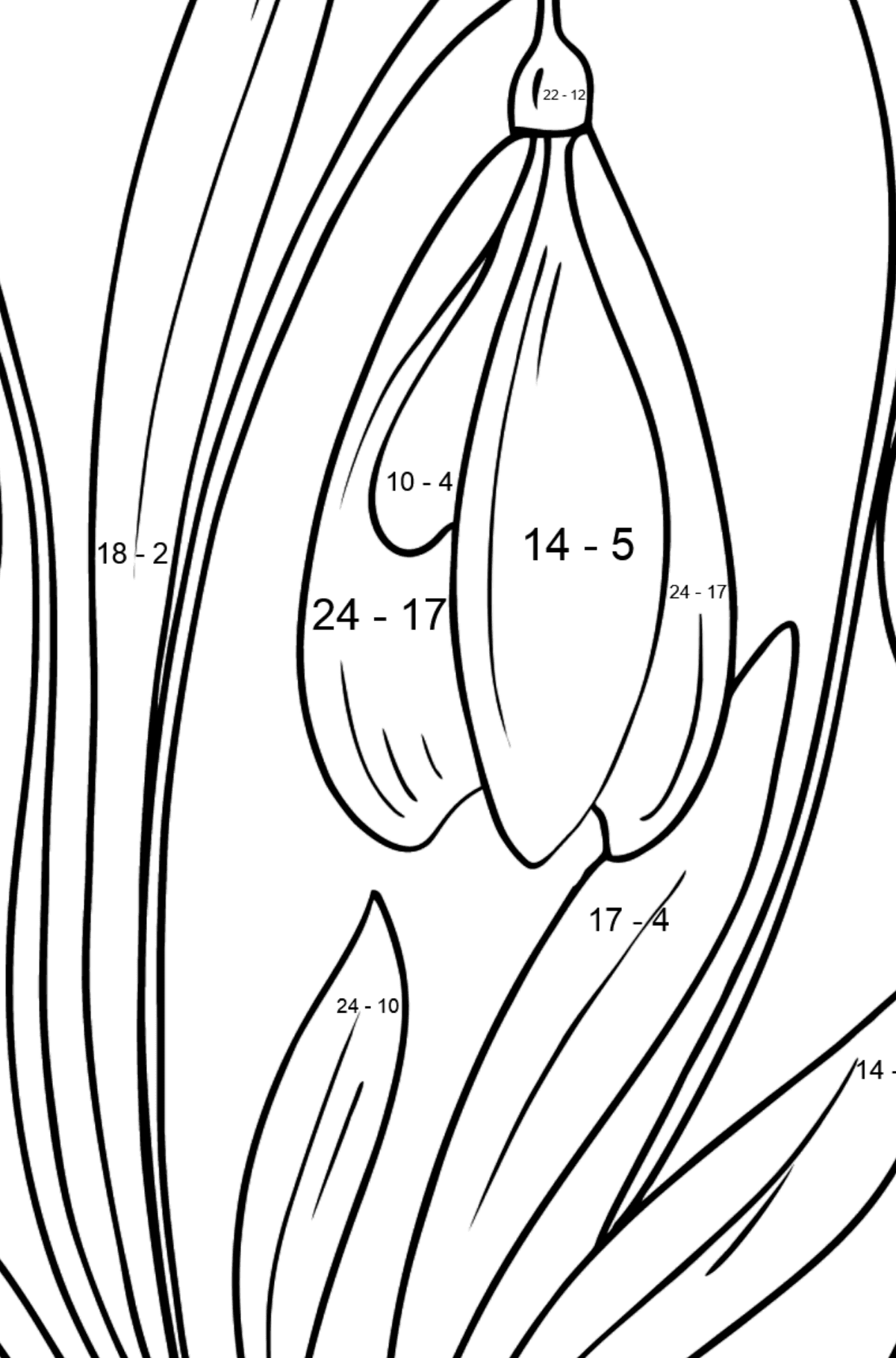 Snowdrops Coloring Page - Math Coloring - Subtraction for Kids