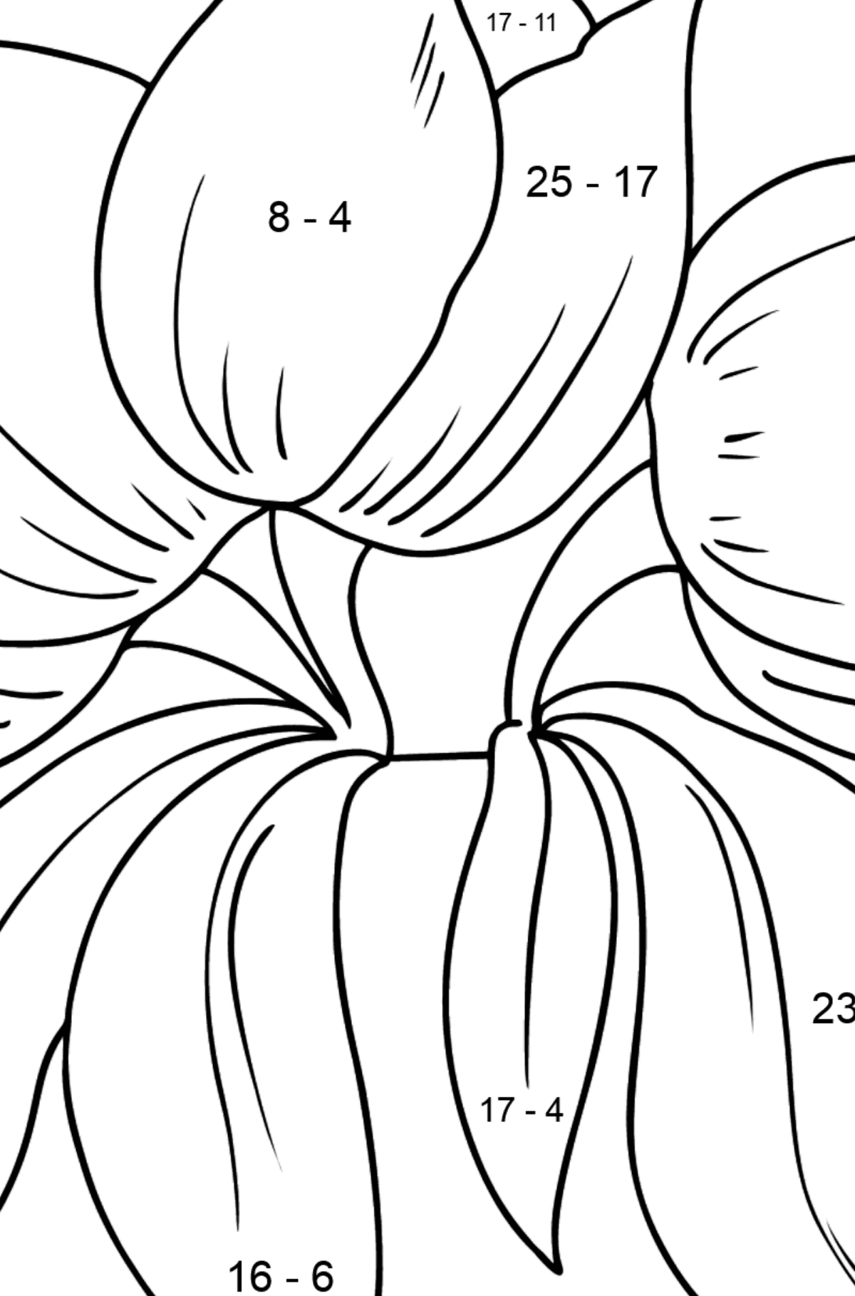 Flower Coloring Page - Tulips - Math Coloring - Subtraction for Kids
