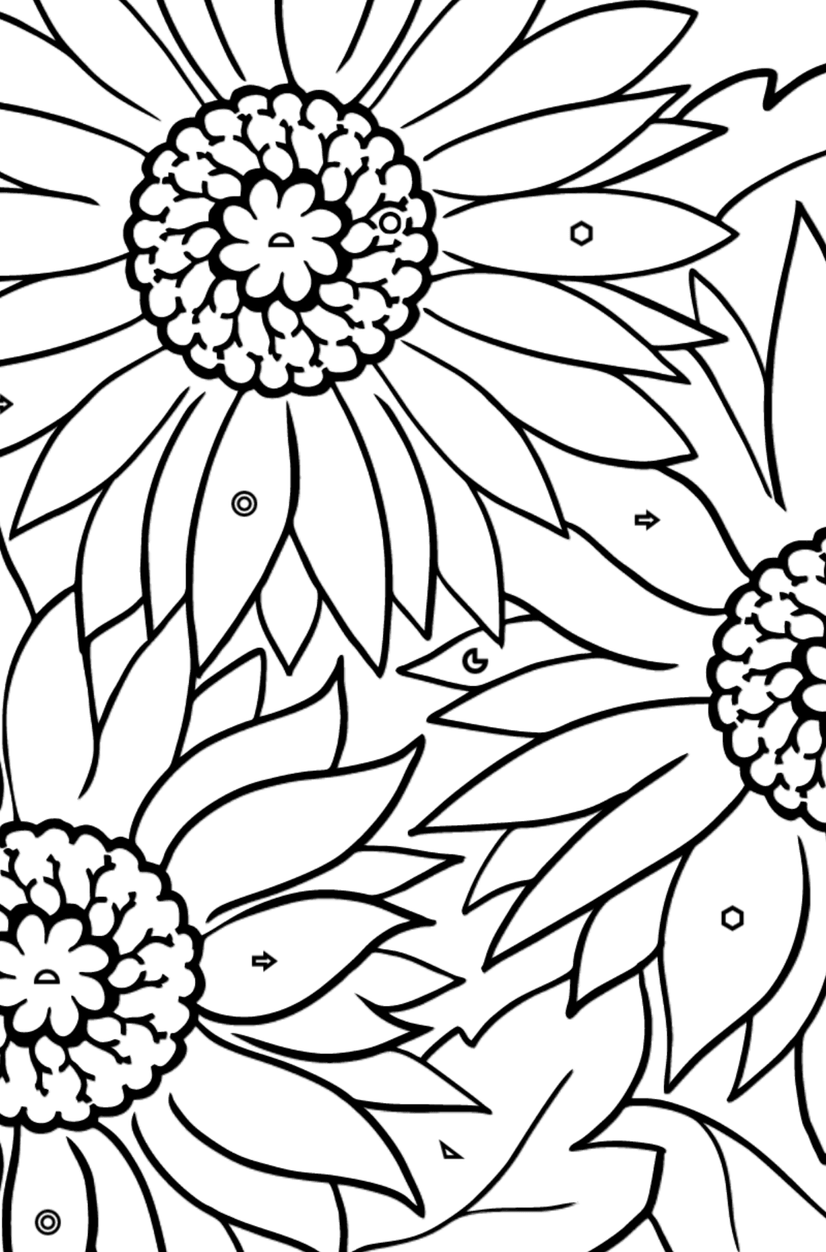 Coloring Page - Yellow Gerbera - Coloring by Geometric Shapes for Kids