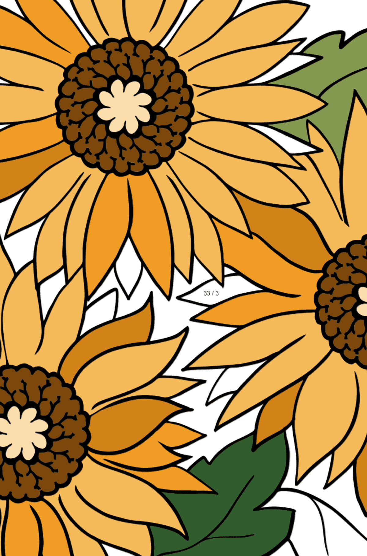 Coloring Page - Yellow Gerbera - Math Coloring - Division for Kids