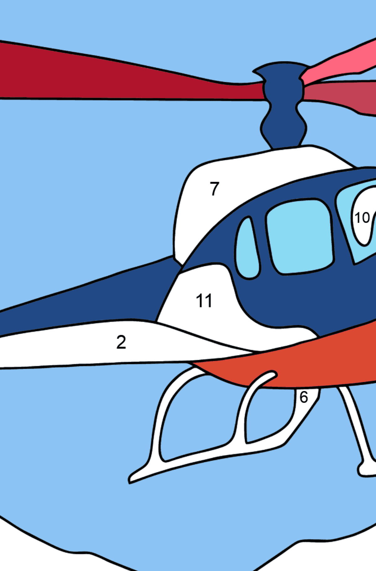 Coloring Page - A City Helicopter - Coloring by Numbers for Kids