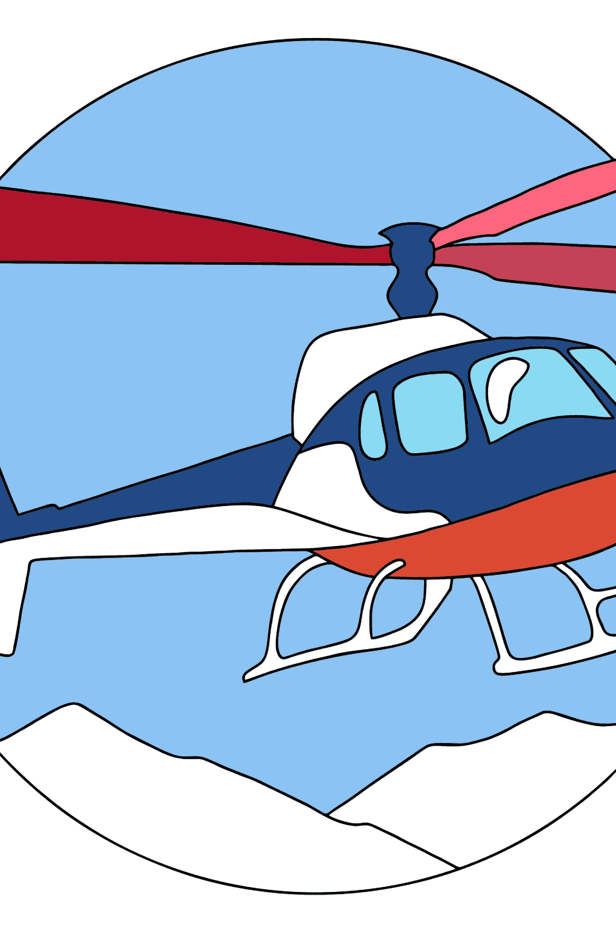 Coloring Page - A City Helicopter - Coloring Pages for Kids