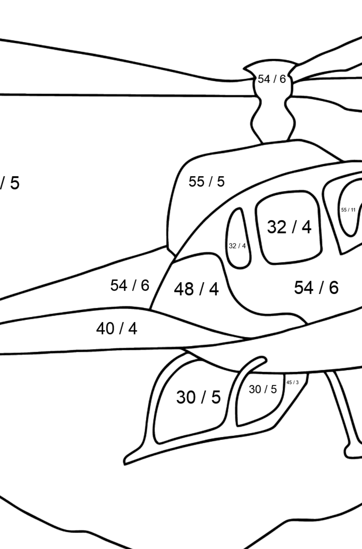 Coloring Page - A City Helicopter - Math Coloring - Division for Kids