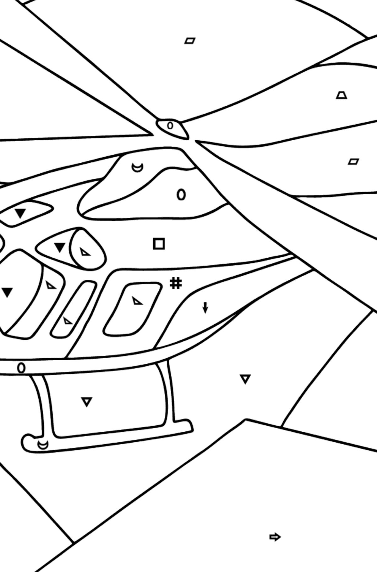 Coloring Page - A Sport Helicopter - Coloring by Symbols and Geometric Shapes for Kids