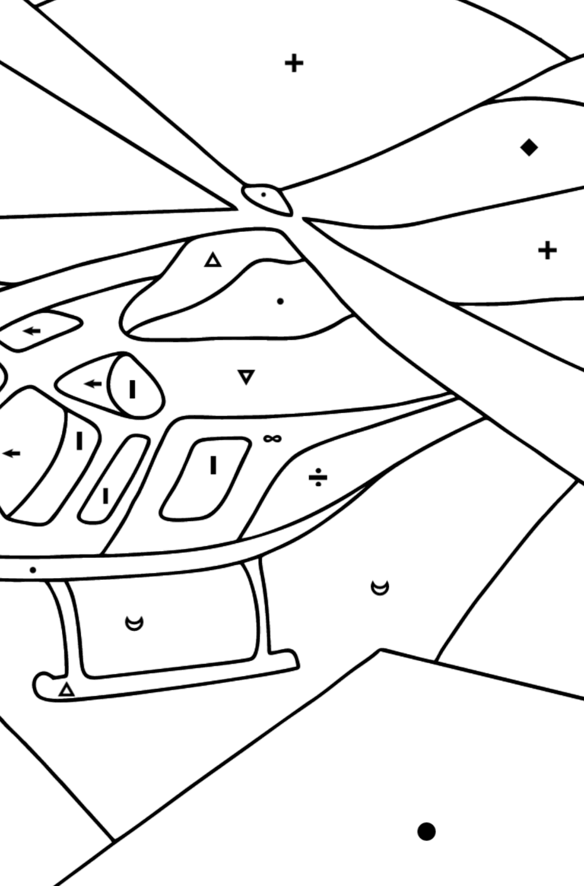 Coloring Page - A Sport Helicopter - Coloring by Symbols for Kids