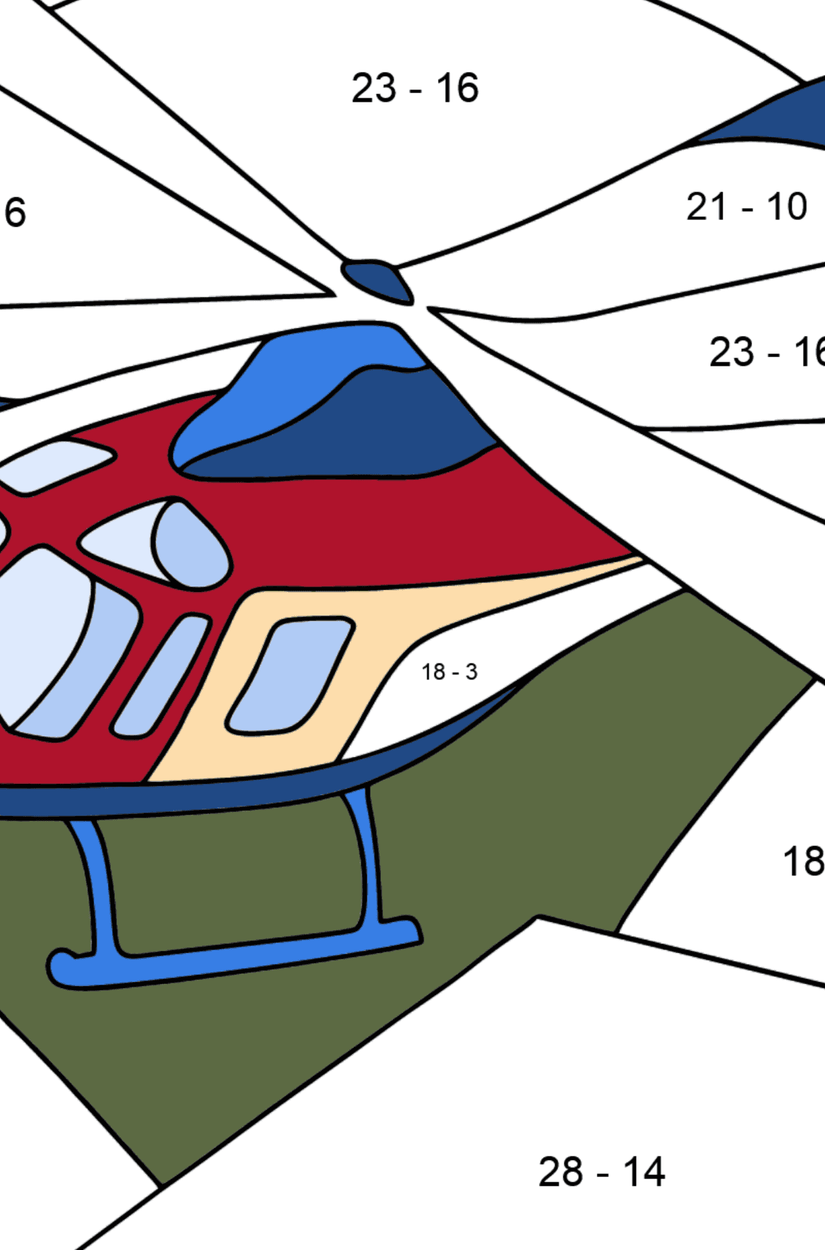 Coloring Page - A Sport Helicopter - Math Coloring - Subtraction for Kids
