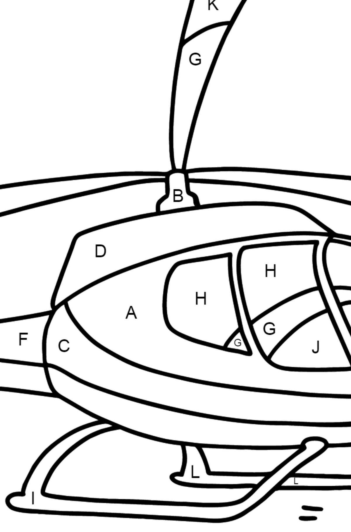 Beautiful Helicopter coloring page - Coloring by Letters for Kids