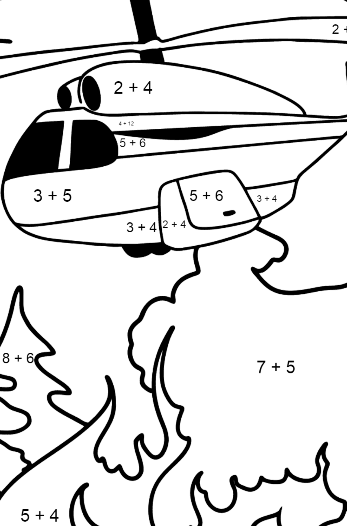 Helicopter Extinguishing Fire coloring page - Math Coloring - Addition for Kids