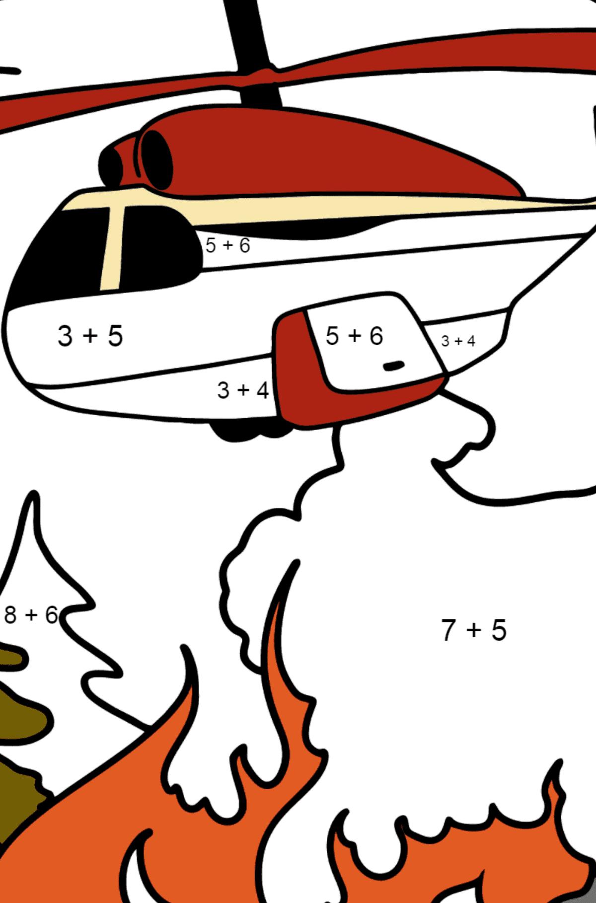 Раскраска вертолет тушит пожар - Математическая Раскраска - Сложение для Детей