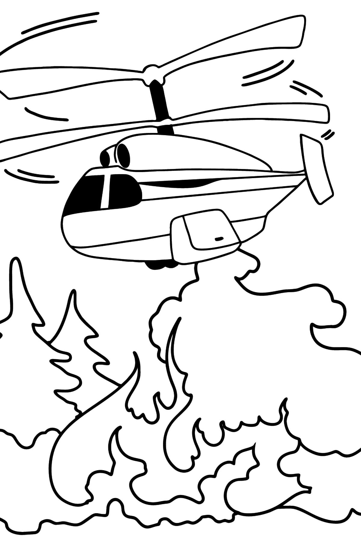 Helicopter Extinguishing Fire coloring page - Coloring Pages for Kids