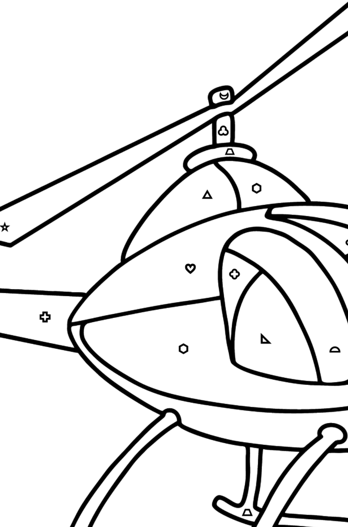 Helicopter coloring page for kids - Coloring by Geometric Shapes for Kids