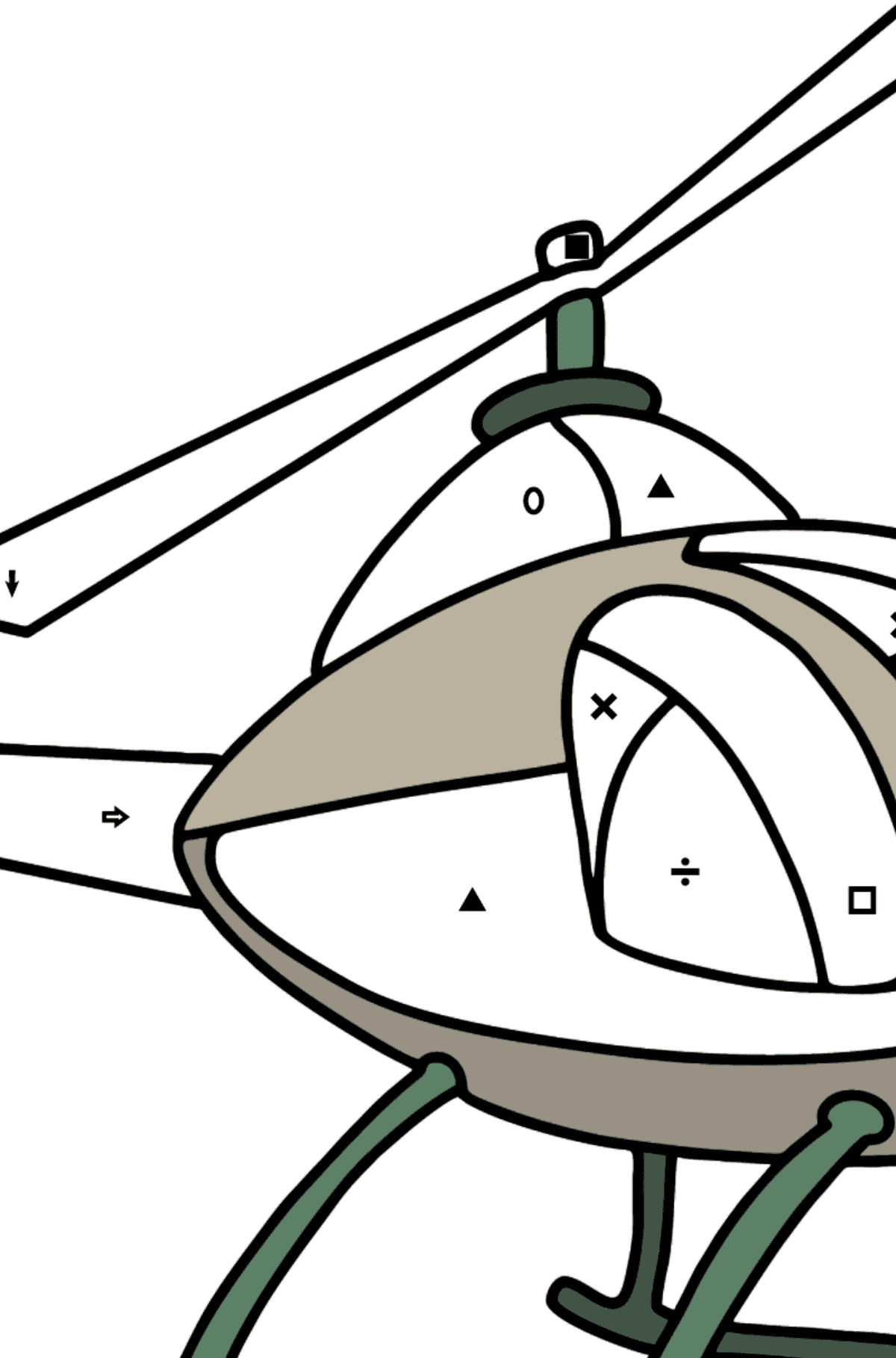 Helicopter coloring page for kids - Coloring by Symbols and Geometric Shapes for Kids