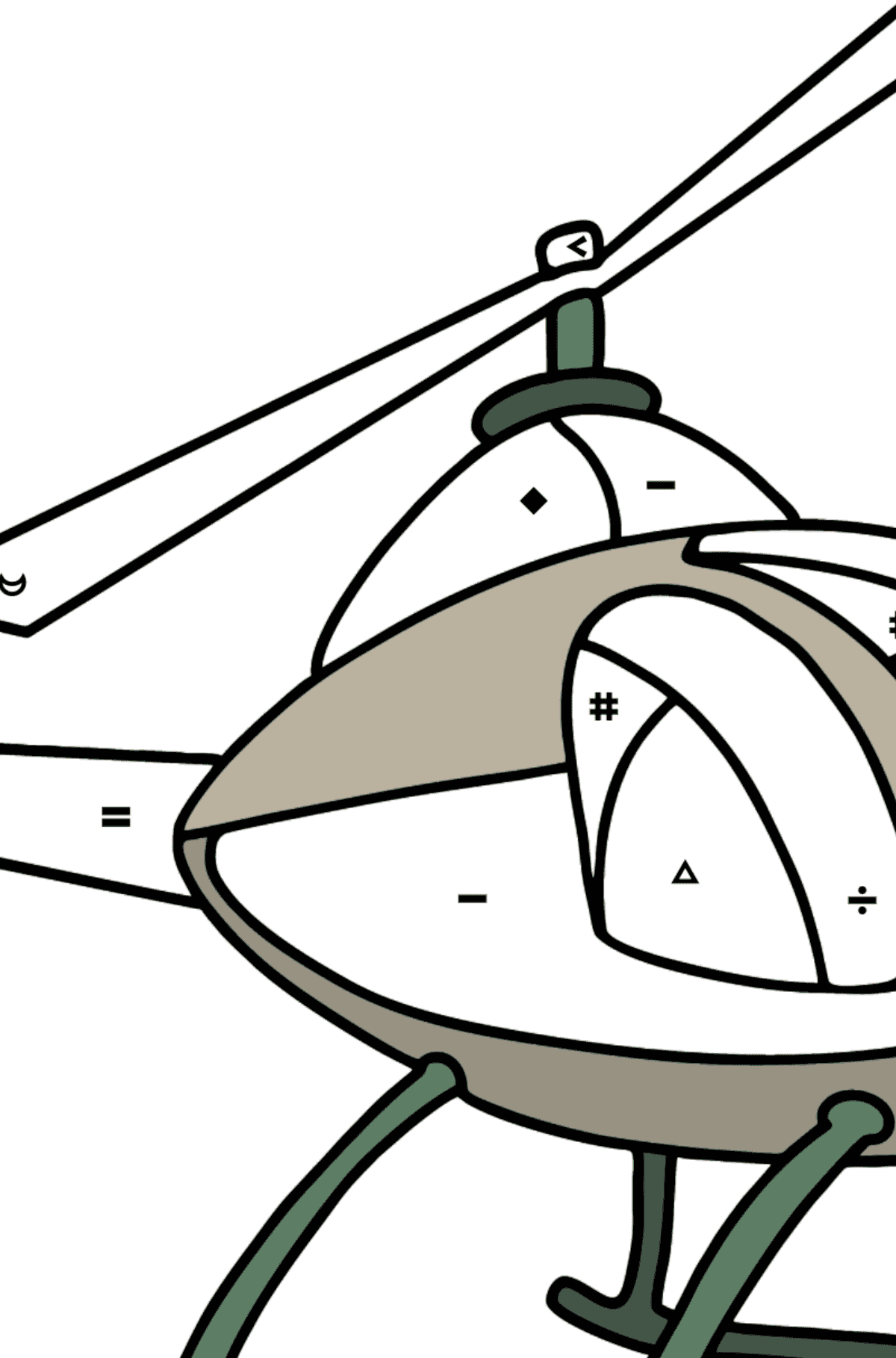 Helicopter coloring page for kids - Coloring by Symbols for Kids