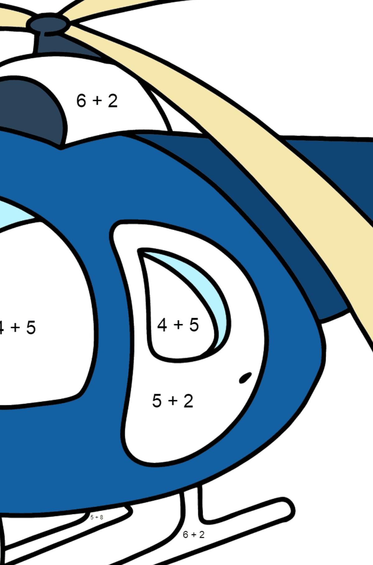 Раскраска вертолет для малышей - Математическая Раскраска - Сложение для Детей