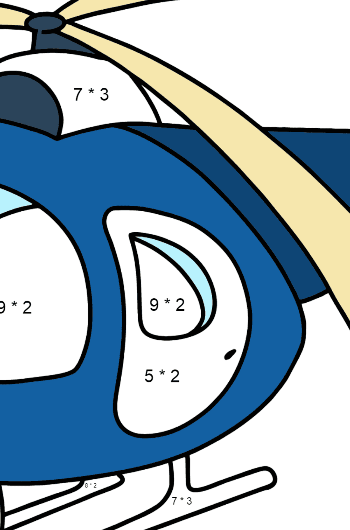Helicopter coloring page for kids - Math Coloring - Multiplication for Kids