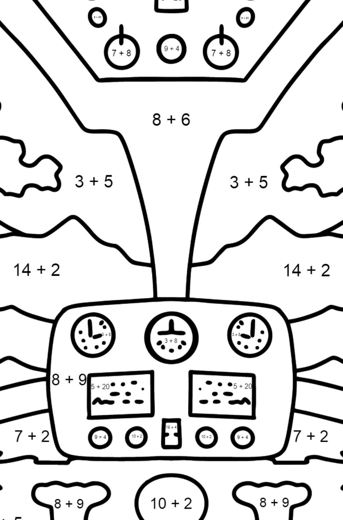 Helicopter Wheel coloring page - Math Coloring - Addition for Kids