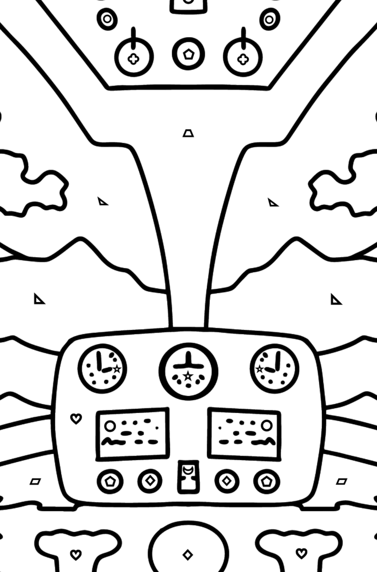Helicopter Wheel coloring page - Coloring by Geometric Shapes for Kids