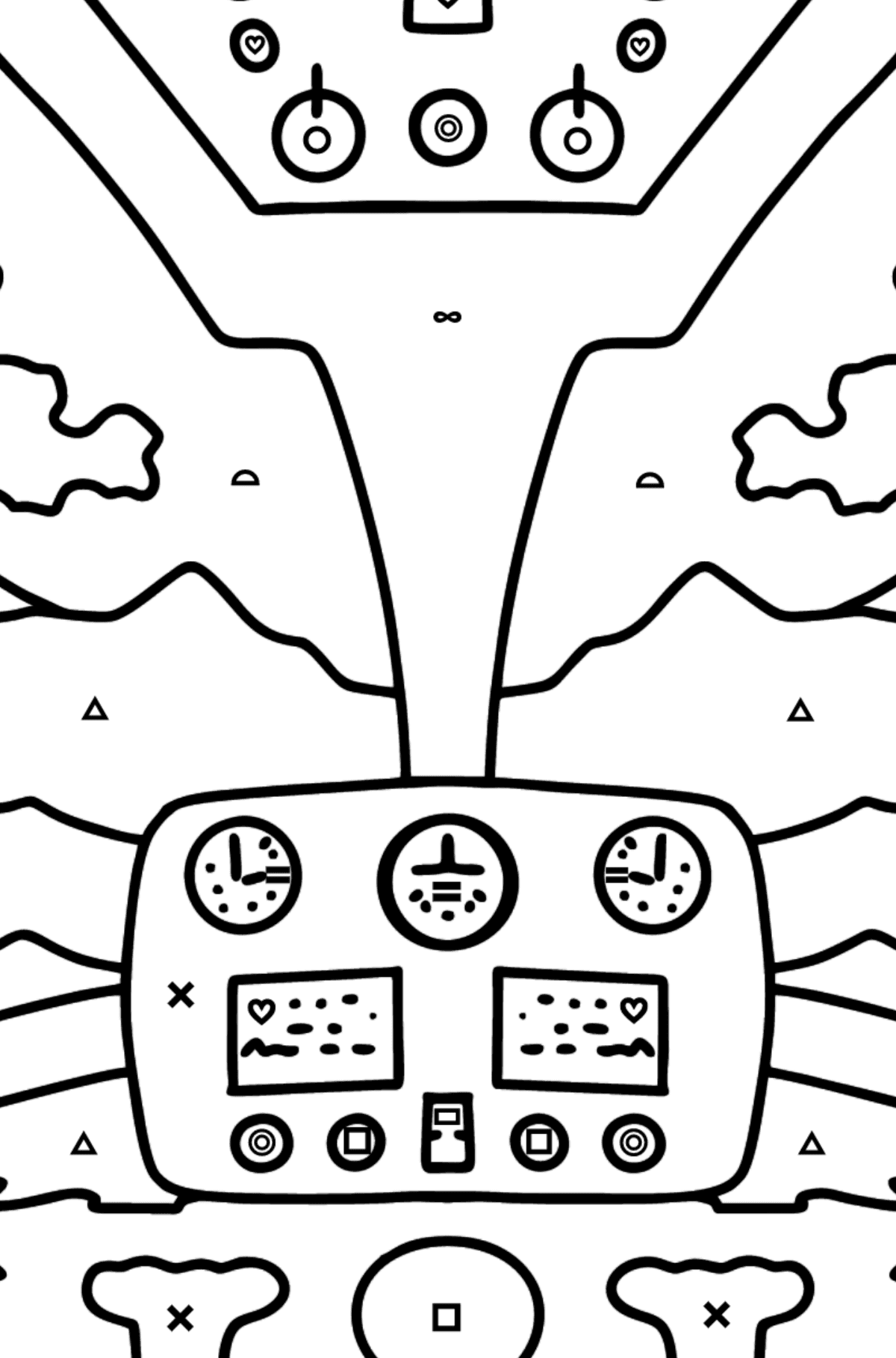 Helicopter Wheel coloring page - Coloring by Symbols and Geometric Shapes for Kids