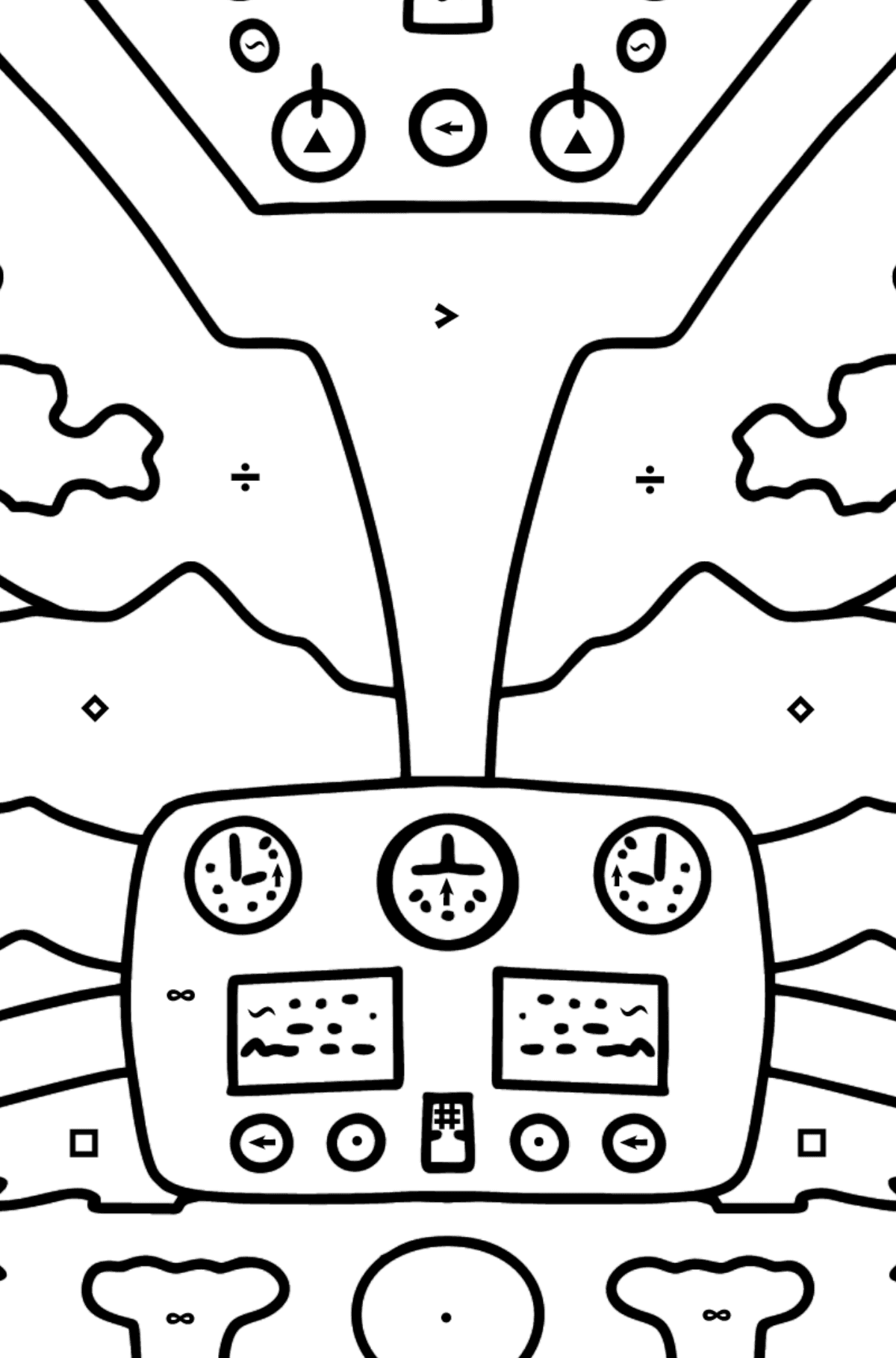 Helicopter Wheel coloring page - Coloring by Symbols for Kids