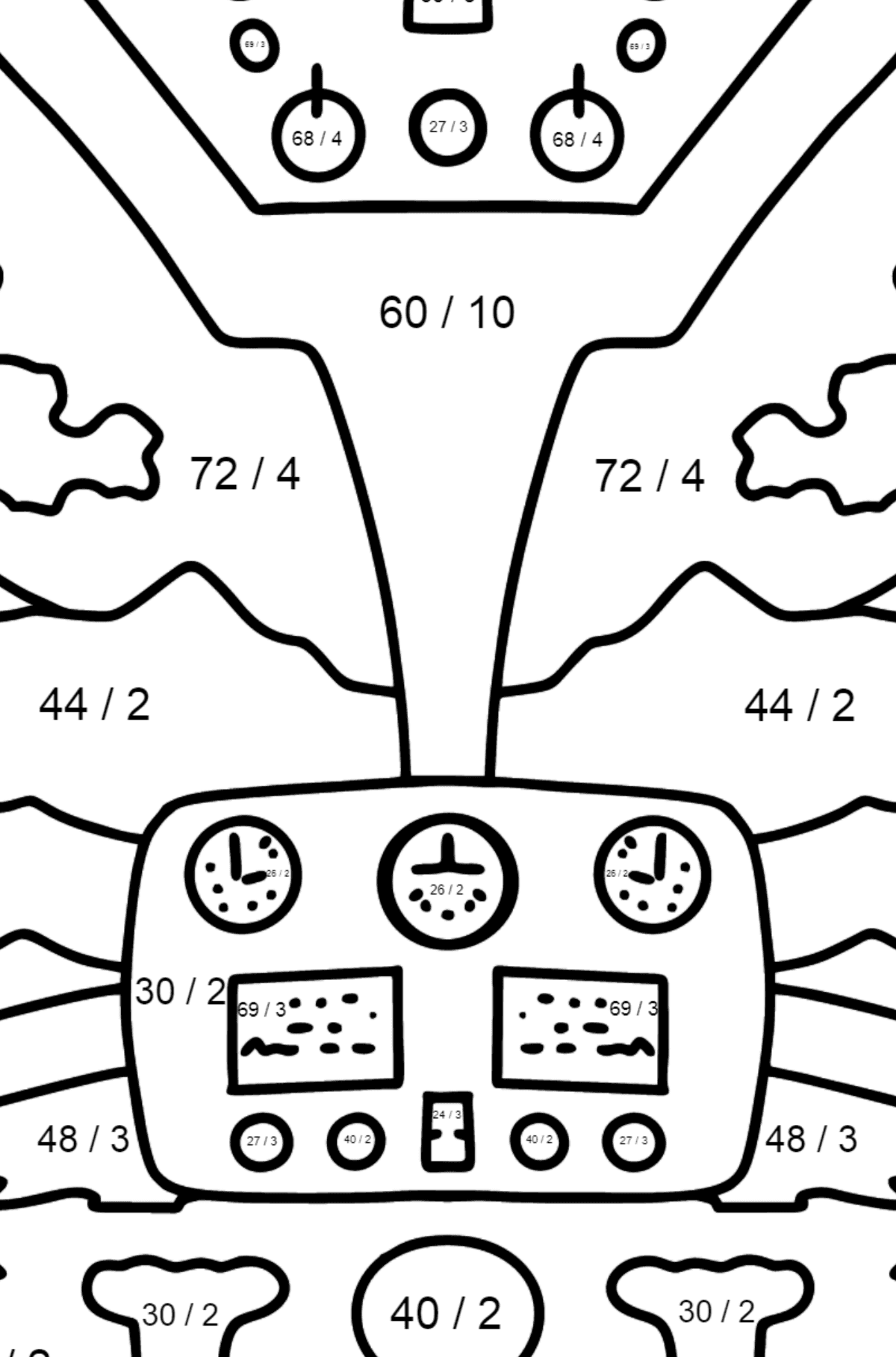 Helicopter Wheel coloring page - Math Coloring - Division for Kids