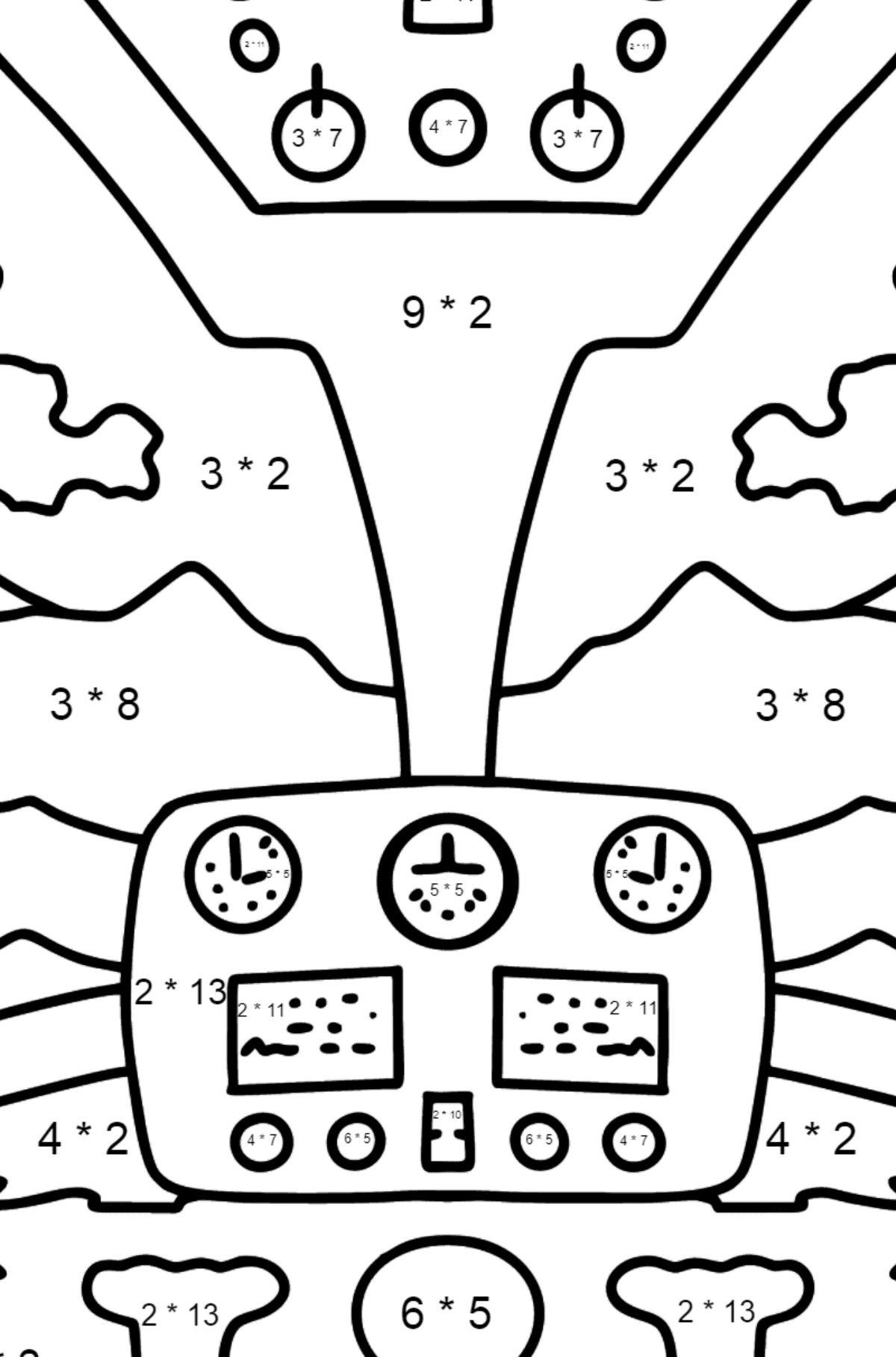 Helicopter Wheel coloring page - Math Coloring - Multiplication for Kids