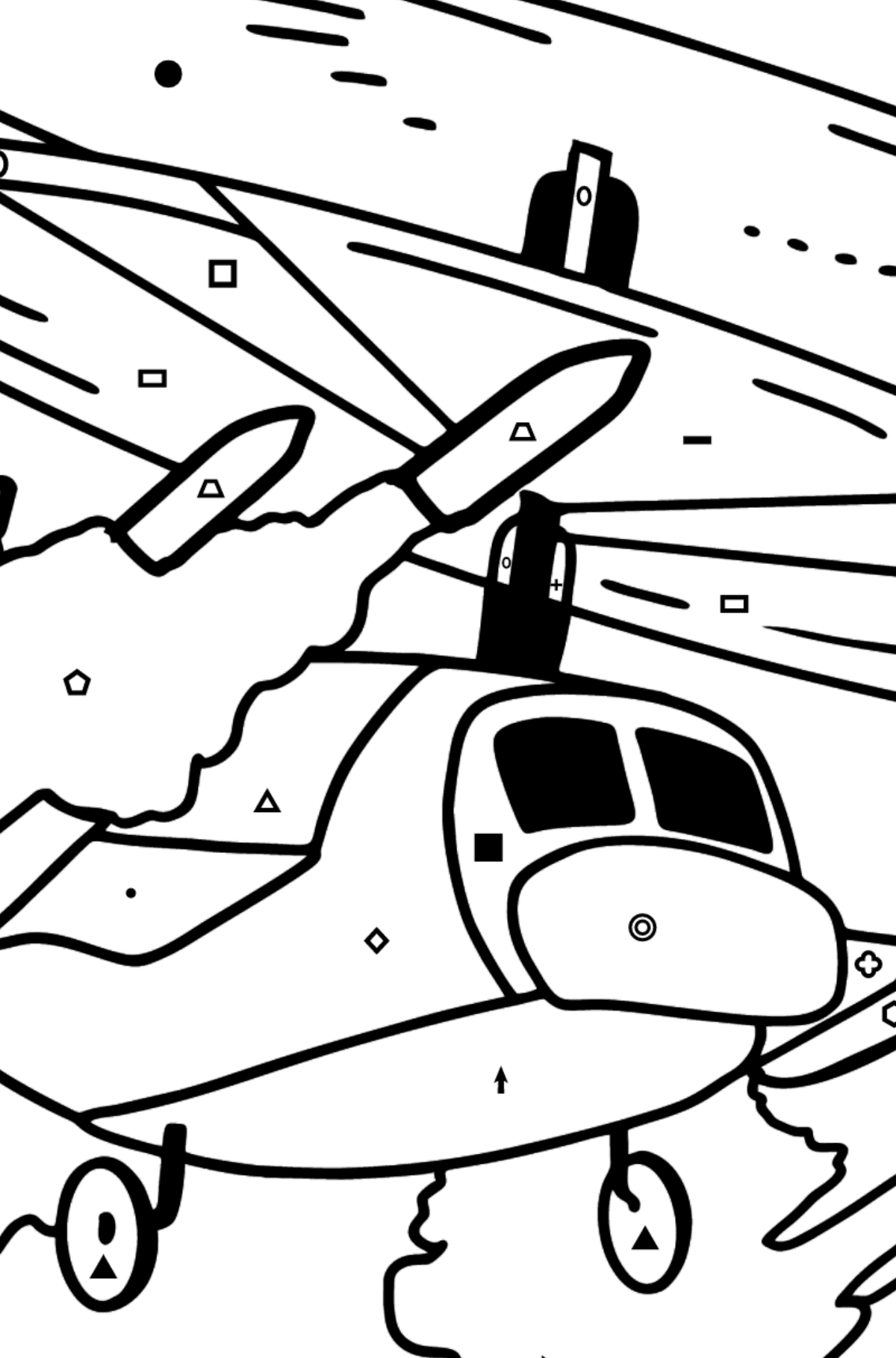 Coloring Page - A Military Helicopter - Coloring by Symbols and Geometric Shapes for Kids