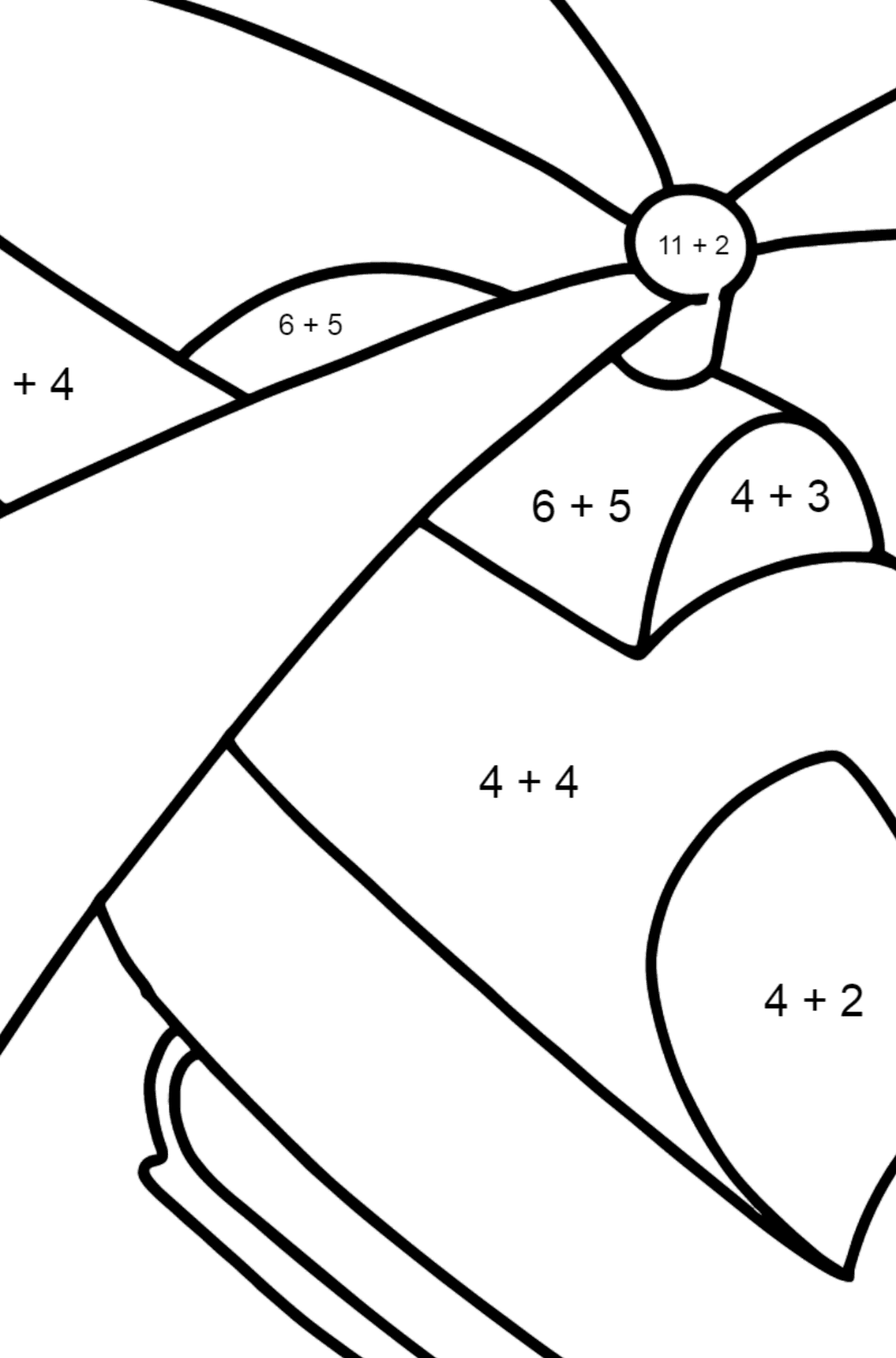 Little Helicopter coloring page - Math Coloring - Addition for Kids