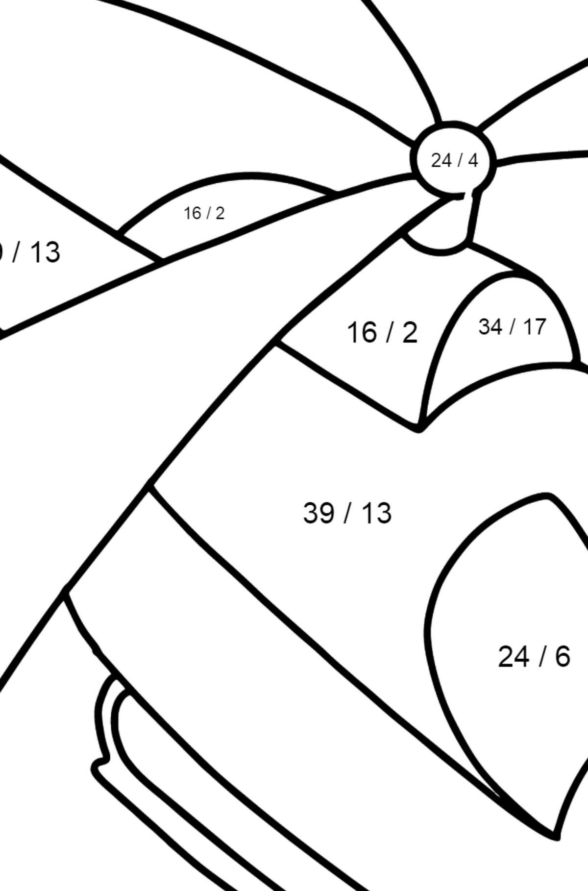 Little Helicopter coloring page - Math Coloring - Division for Kids