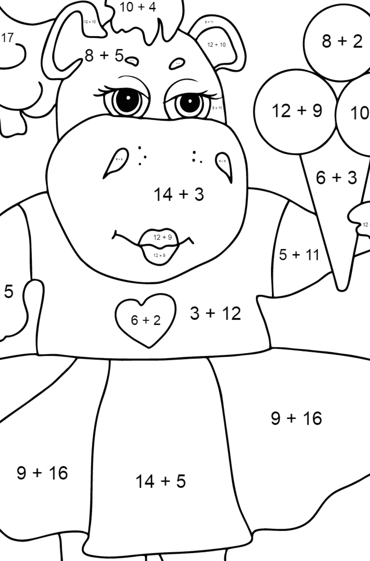 A Hippo and Tasty Ice Cream for Kids - Math Coloring By Addition
