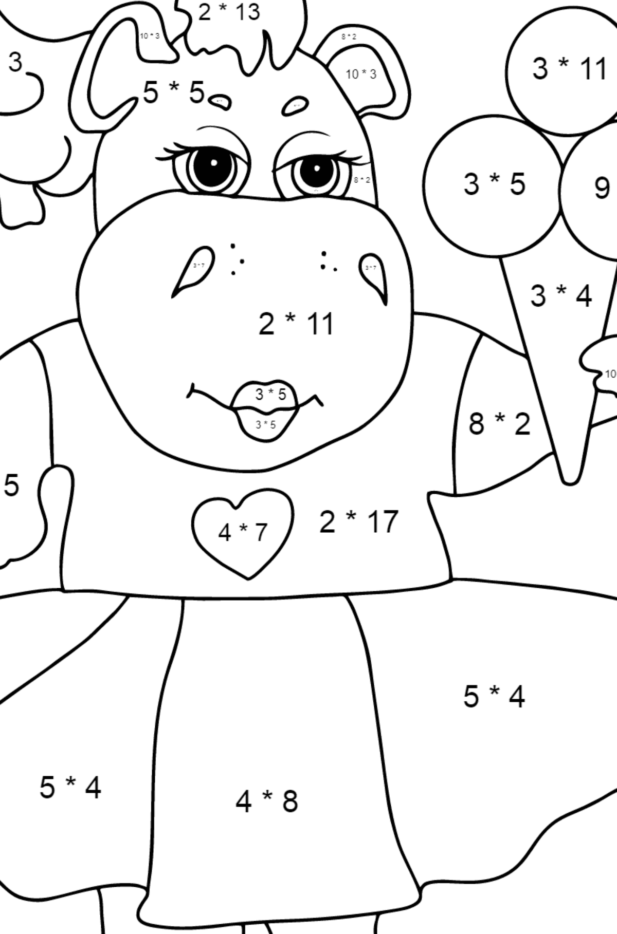 A Hippo and Tasty Ice Cream for Kids - Math Coloring By Multiplication